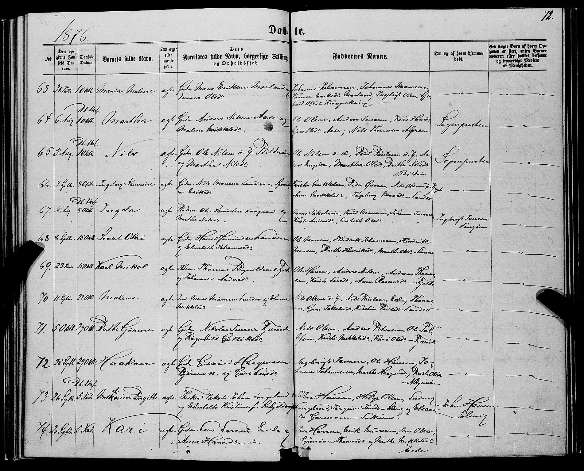 SAB, Fjell Sokneprestembete, H/Haa: Ministerialbok nr. A 3, 1864-1877, s. 72