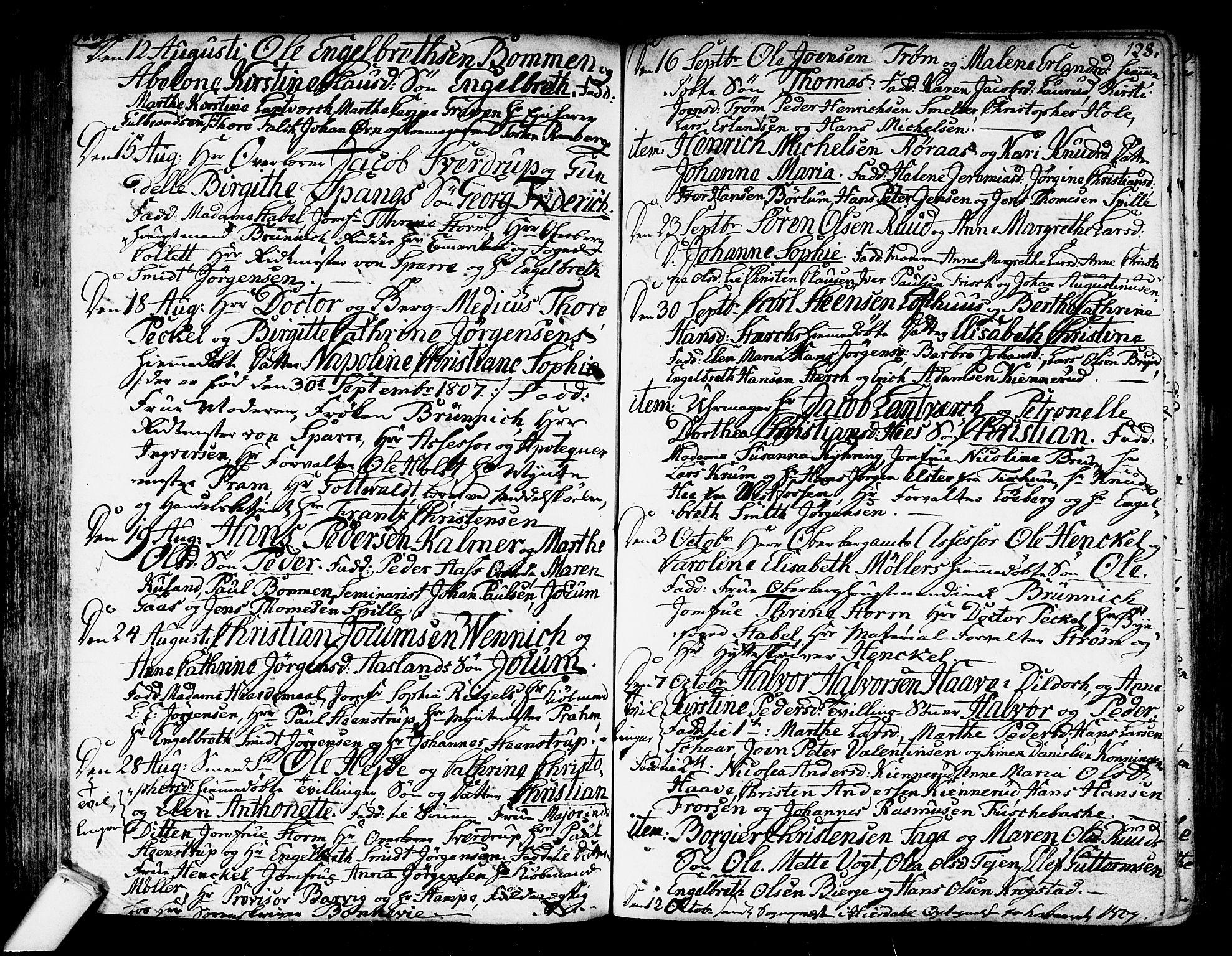 SAKO, Kongsberg kirkebøker, F/Fa/L0007: Ministerialbok nr. I 7, 1795-1816, s. 128
