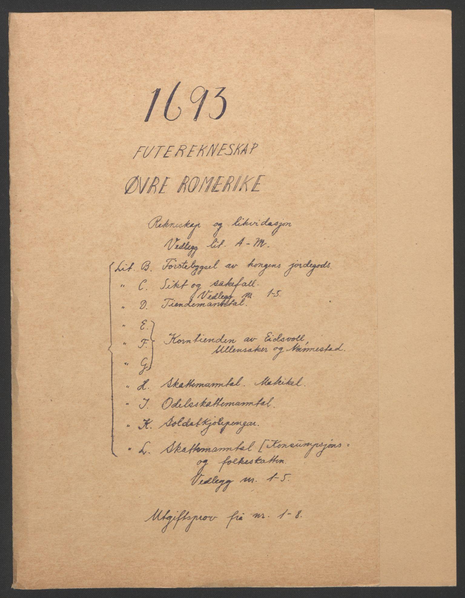 RA, Rentekammeret inntil 1814, Reviderte regnskaper, Fogderegnskap, R12/L0705: Fogderegnskap Øvre Romerike, 1693, s. 2
