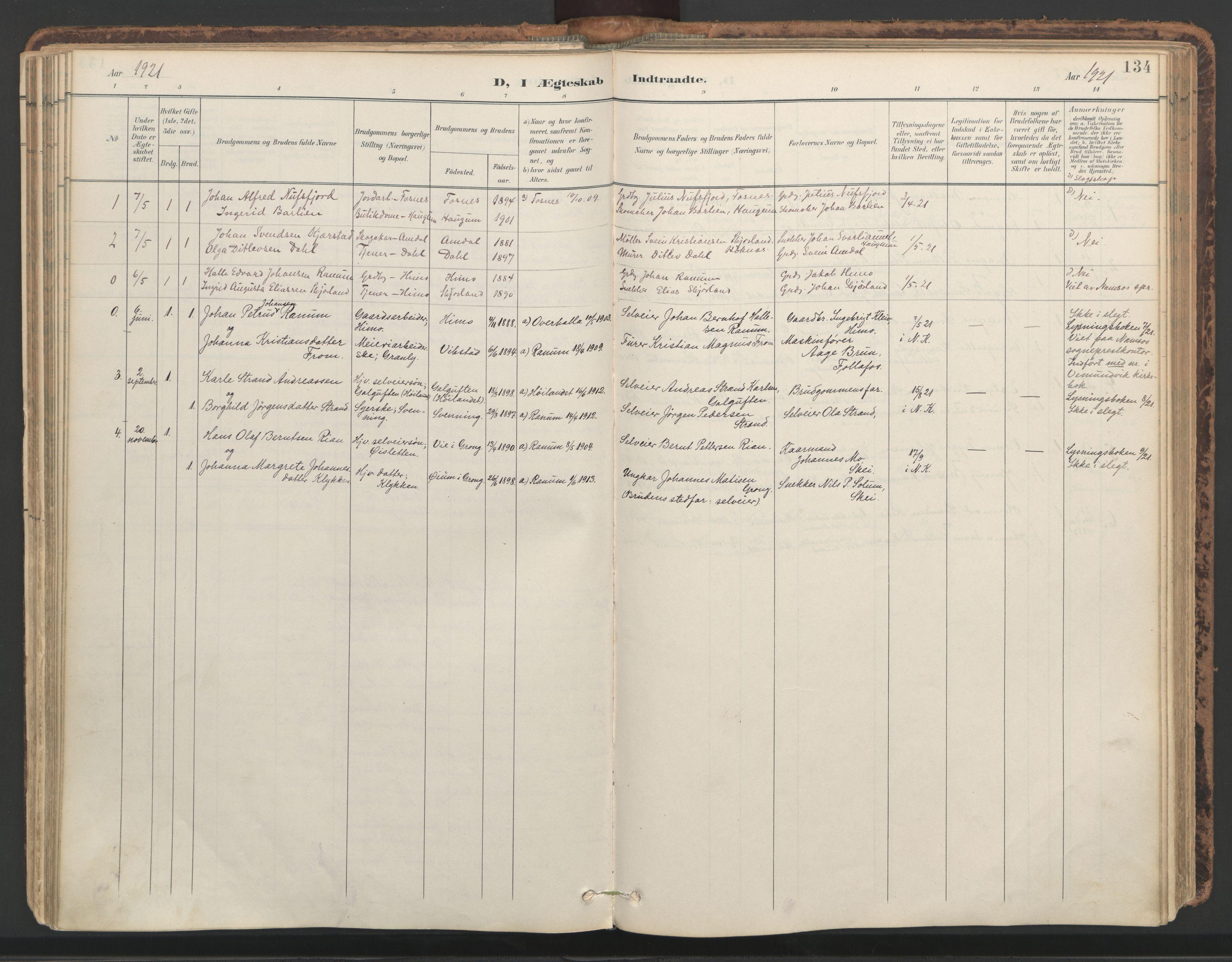SAT, Ministerialprotokoller, klokkerbøker og fødselsregistre - Nord-Trøndelag, 764/L0556: Ministerialbok nr. 764A11, 1897-1924, s. 134