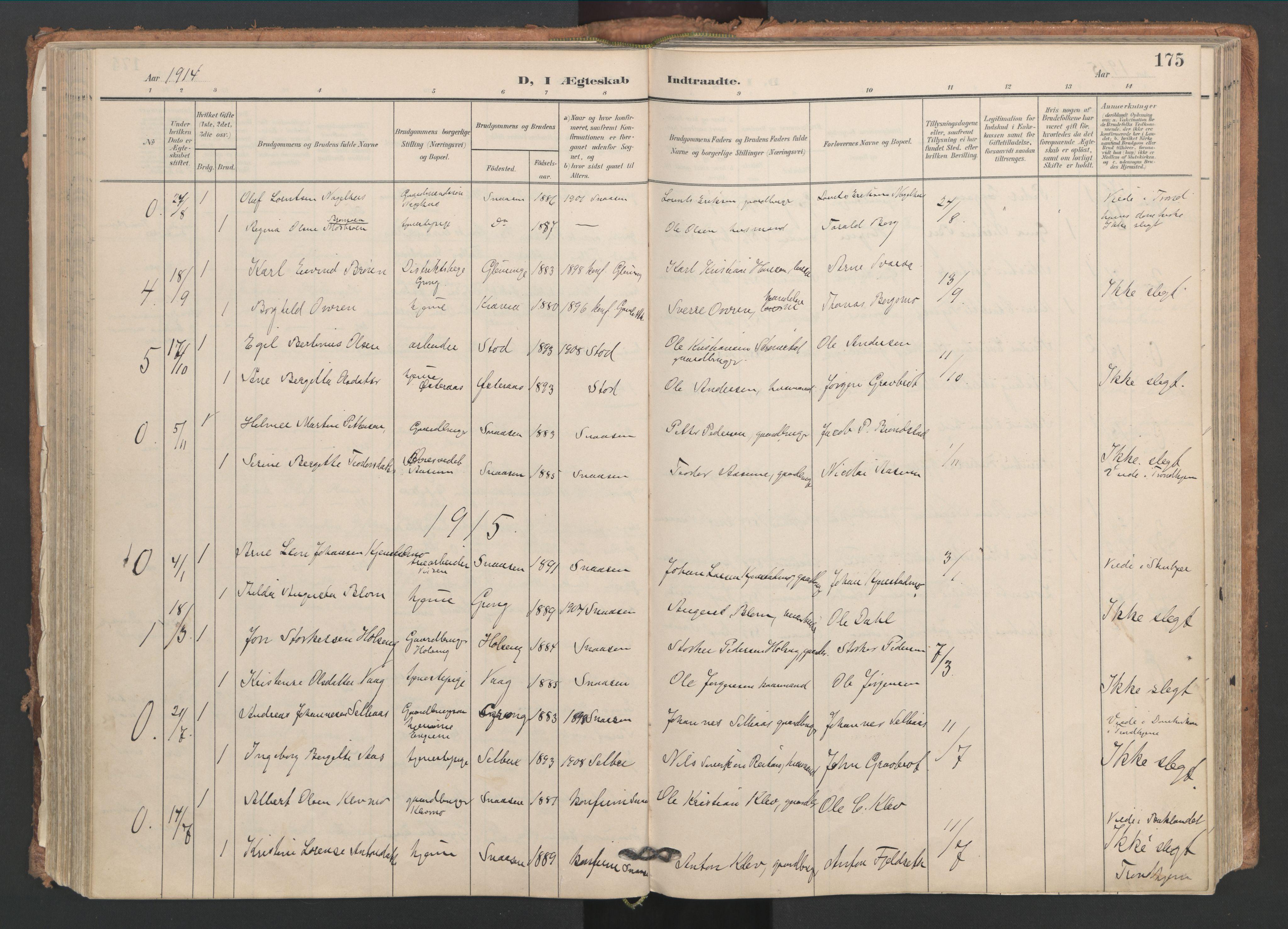 SAT, Ministerialprotokoller, klokkerbøker og fødselsregistre - Nord-Trøndelag, 749/L0477: Ministerialbok nr. 749A11, 1902-1927, s. 175