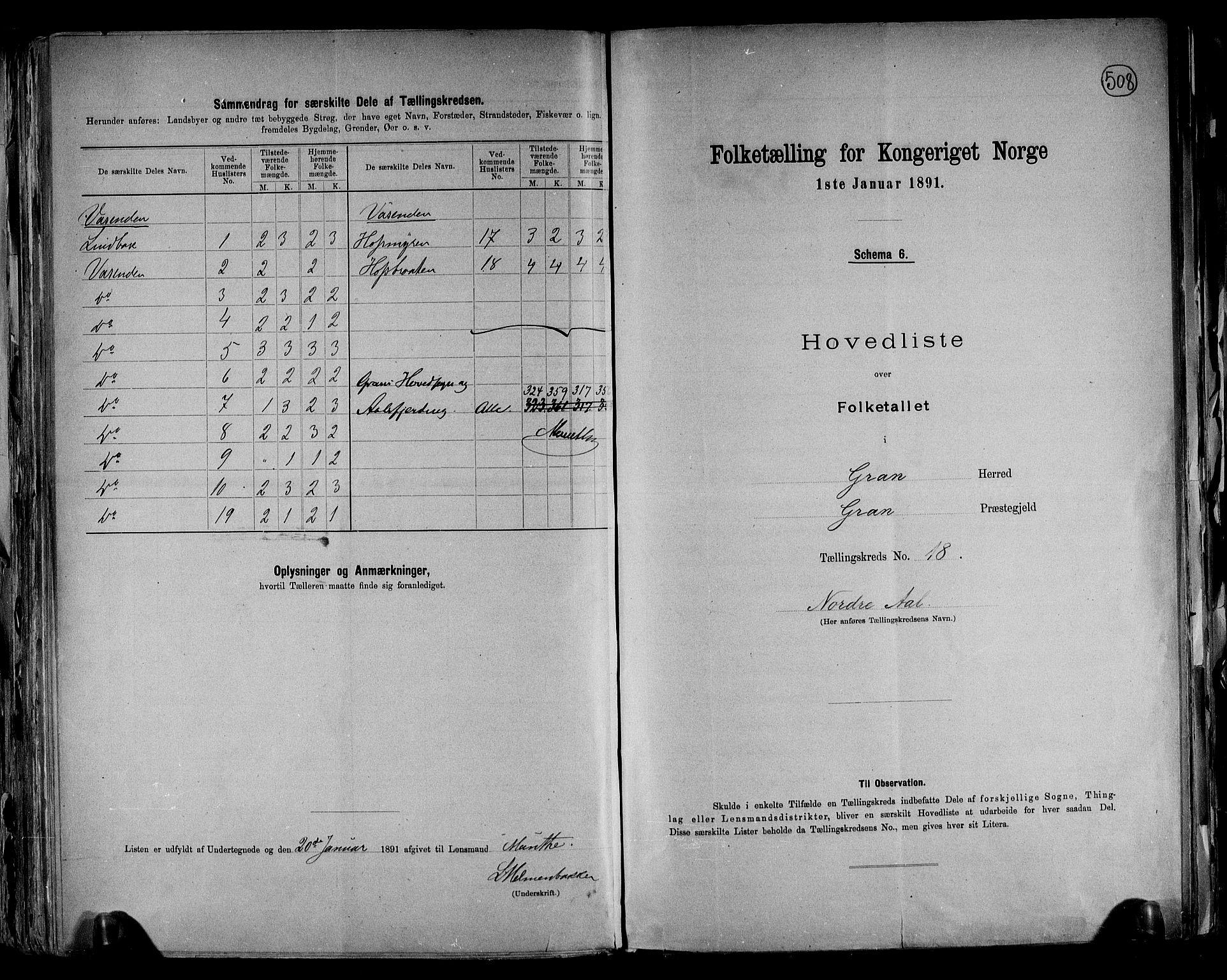 RA, Folketelling 1891 for 0534 Gran herred, 1891, s. 49