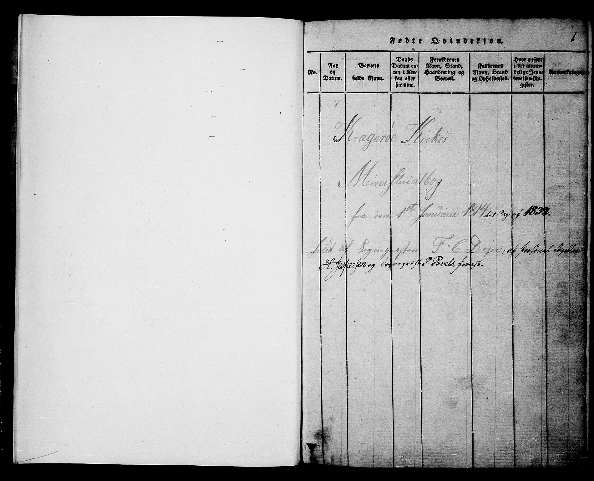 SAKO, Kragerø kirkebøker, F/Fa/L0004: Ministerialbok nr. 4, 1814-1831, s. 1