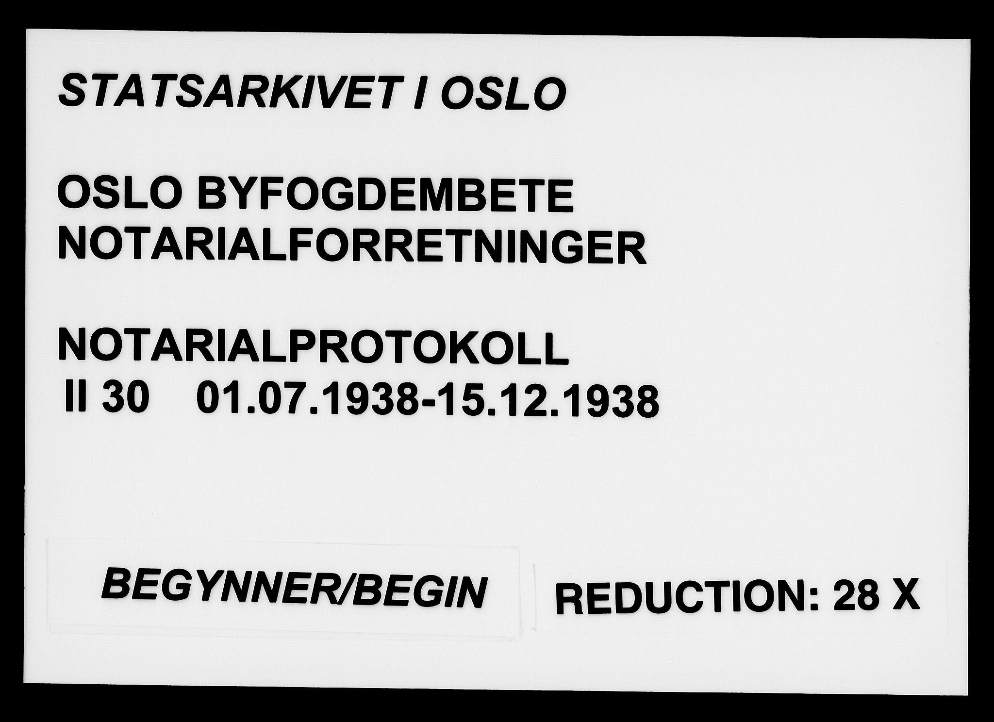 SAO, Oslo byfogd avd. I, L/Lb/Lbb/L0030: Notarialprotokoll, rekke II: Vigsler, 1938, s. upaginert
