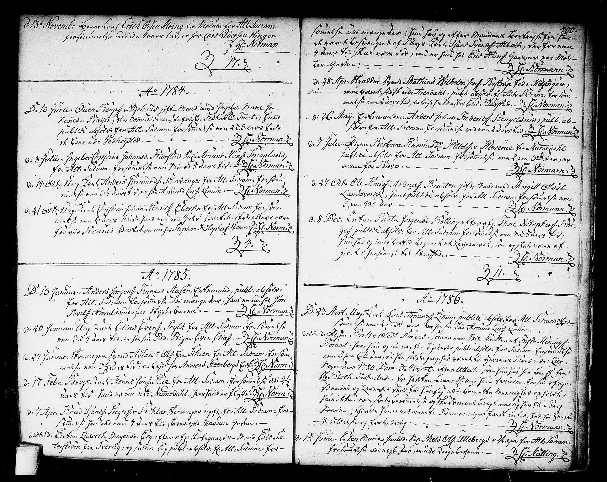 SAKO, Kongsberg kirkebøker, F/Fa/L0006: Ministerialbok nr. I 6, 1783-1797, s. 400