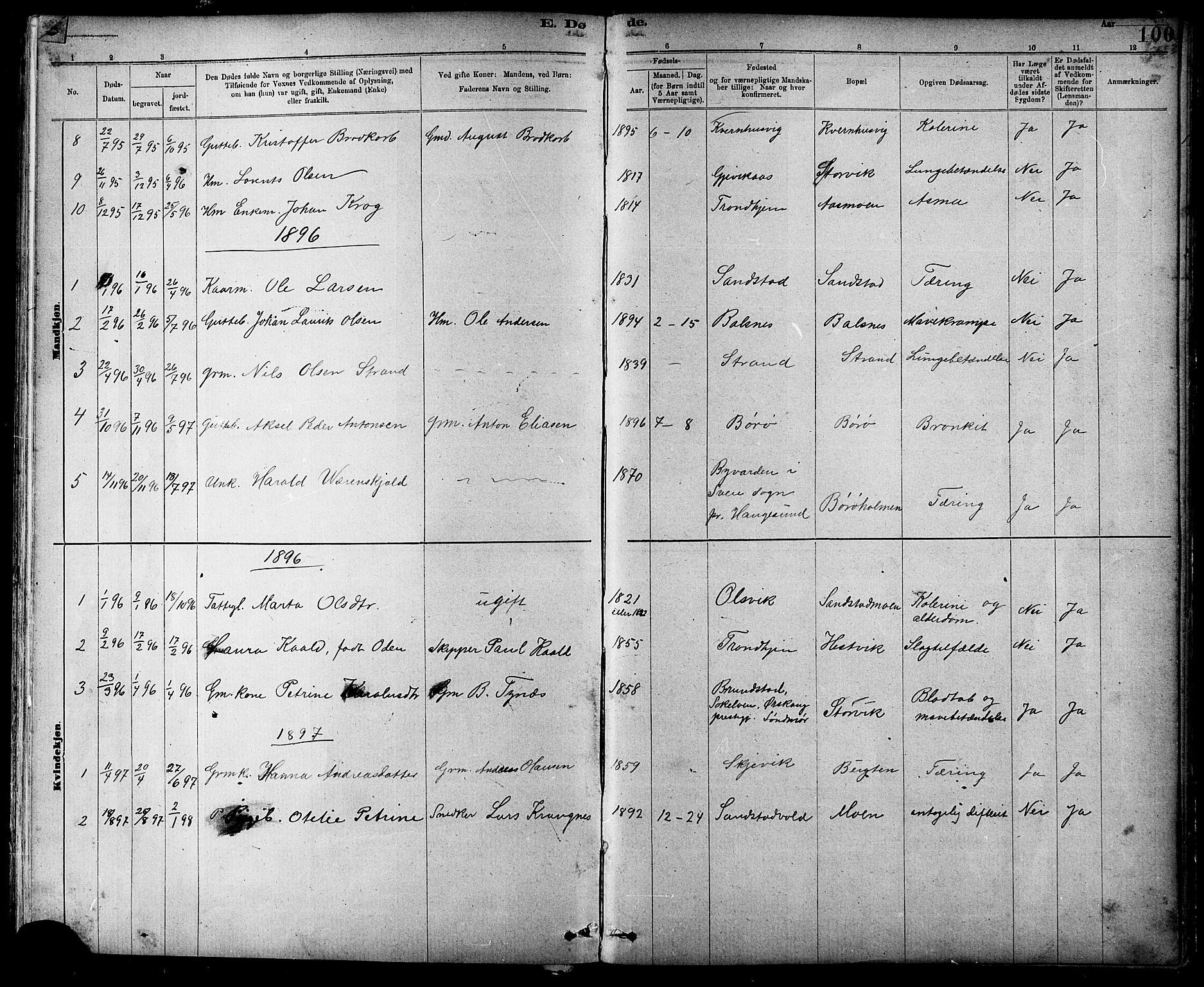 SAT, Ministerialprotokoller, klokkerbøker og fødselsregistre - Sør-Trøndelag, 639/L0573: Klokkerbok nr. 639C01, 1890-1905, s. 100
