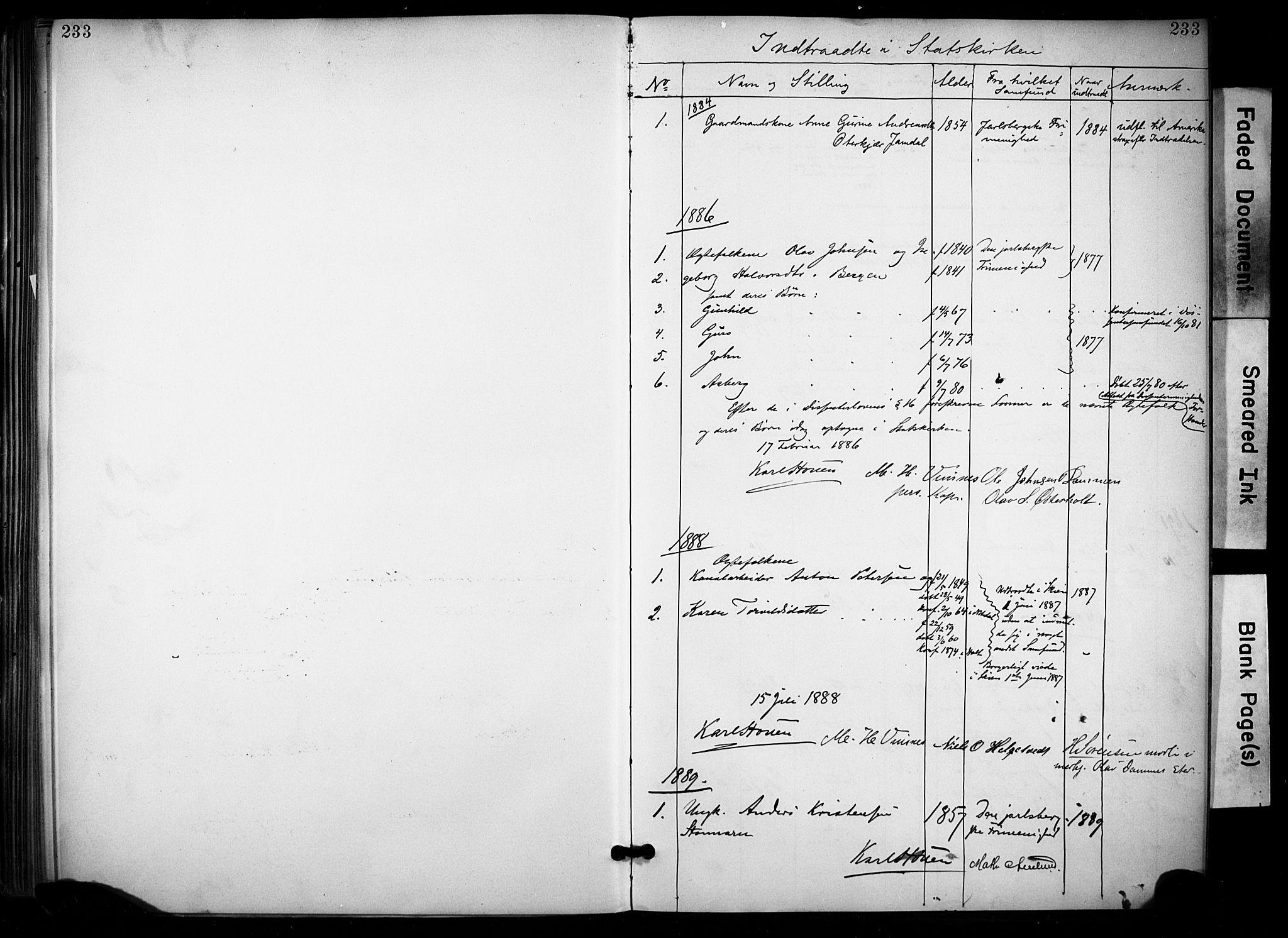 SAKO, Lunde kirkebøker, F/Fa/L0002: Ministerialbok nr. I 2, 1884-1892, s. 233