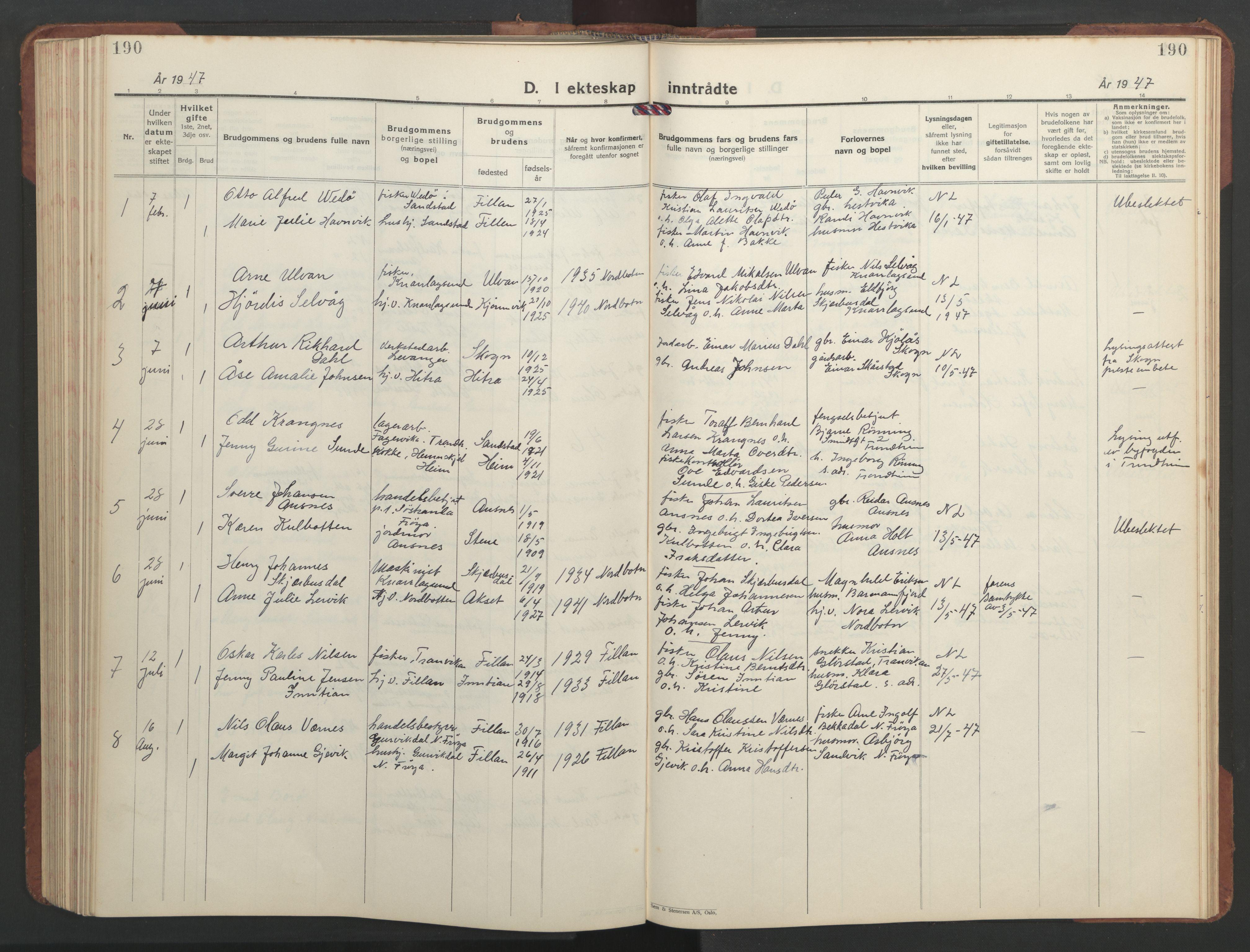 SAT, Ministerialprotokoller, klokkerbøker og fødselsregistre - Sør-Trøndelag, 637/L0564: Klokkerbok nr. 637C05, 1928-1968, s. 190