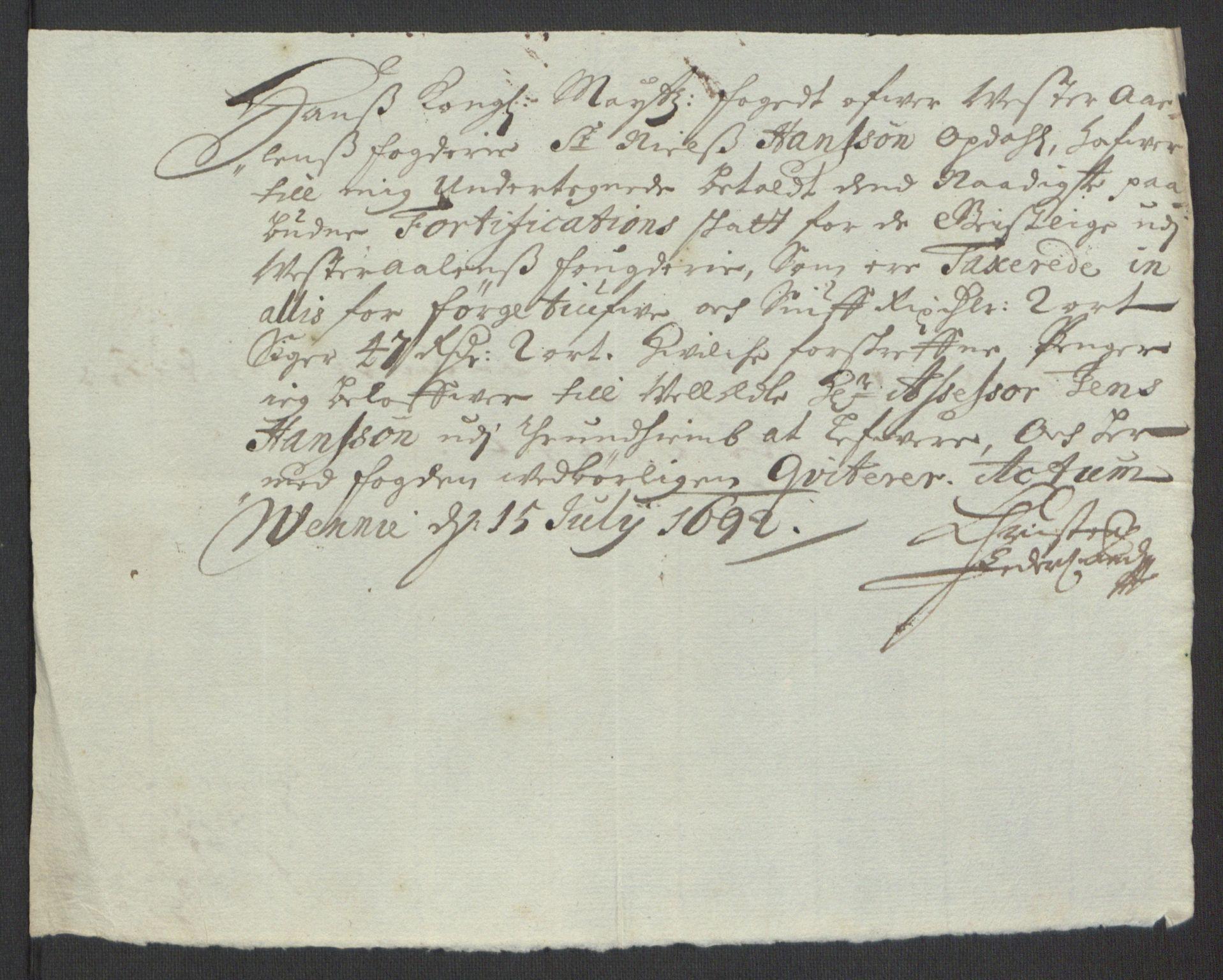 RA, Rentekammeret inntil 1814, Reviderte regnskaper, Fogderegnskap, R67/L4676: Fogderegnskap Vesterålen, Andenes og Lofoten, 1691-1693, s. 191