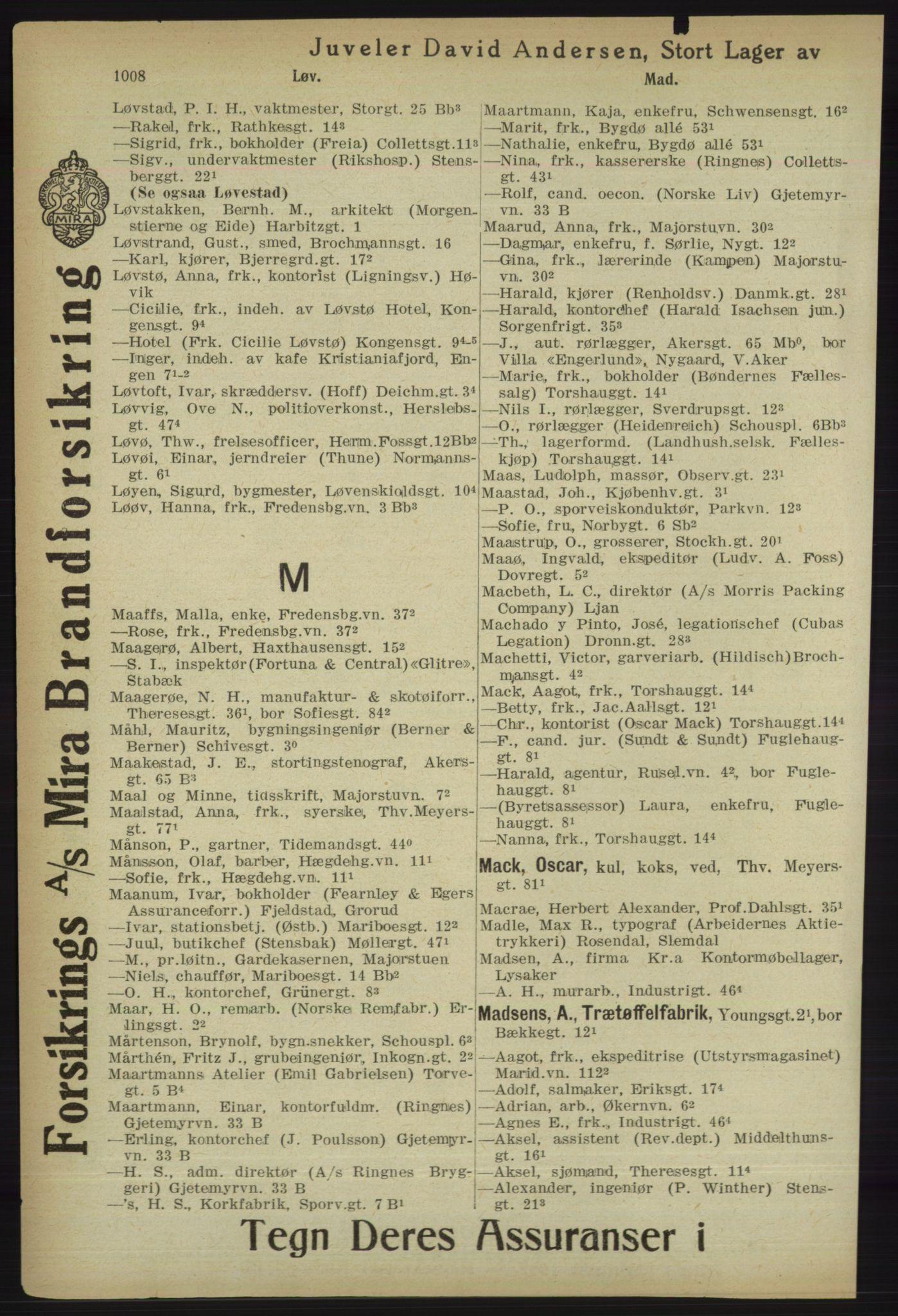 PUBL, Kristiania/Oslo adressebok, 1918, s. 1033
