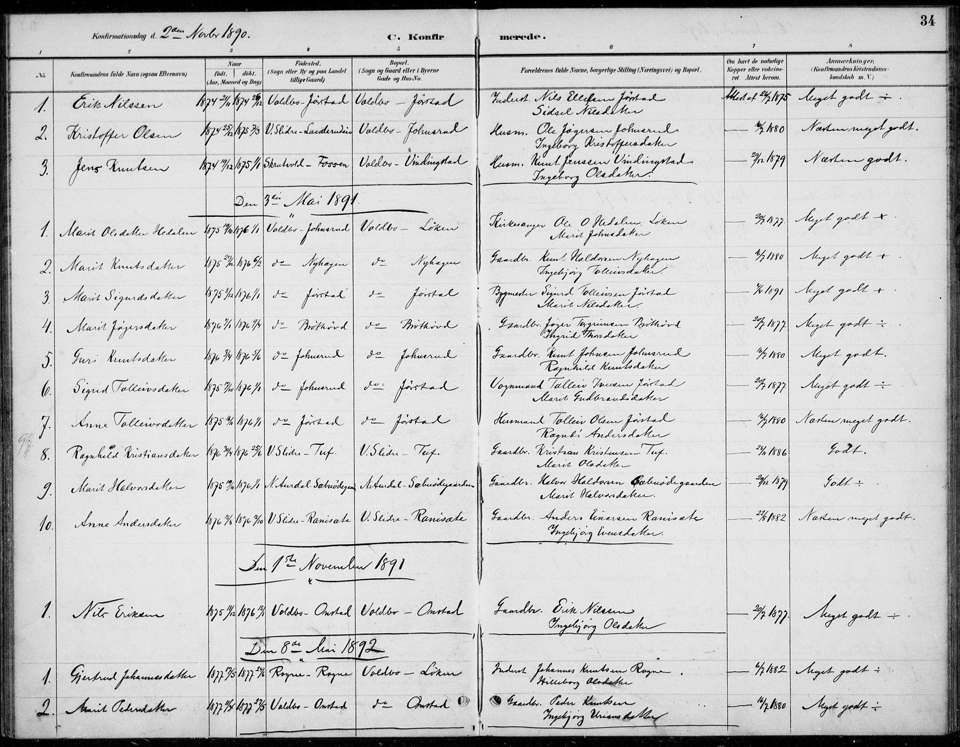 SAH, Øystre Slidre prestekontor, Ministerialbok nr. 5, 1887-1916, s. 34