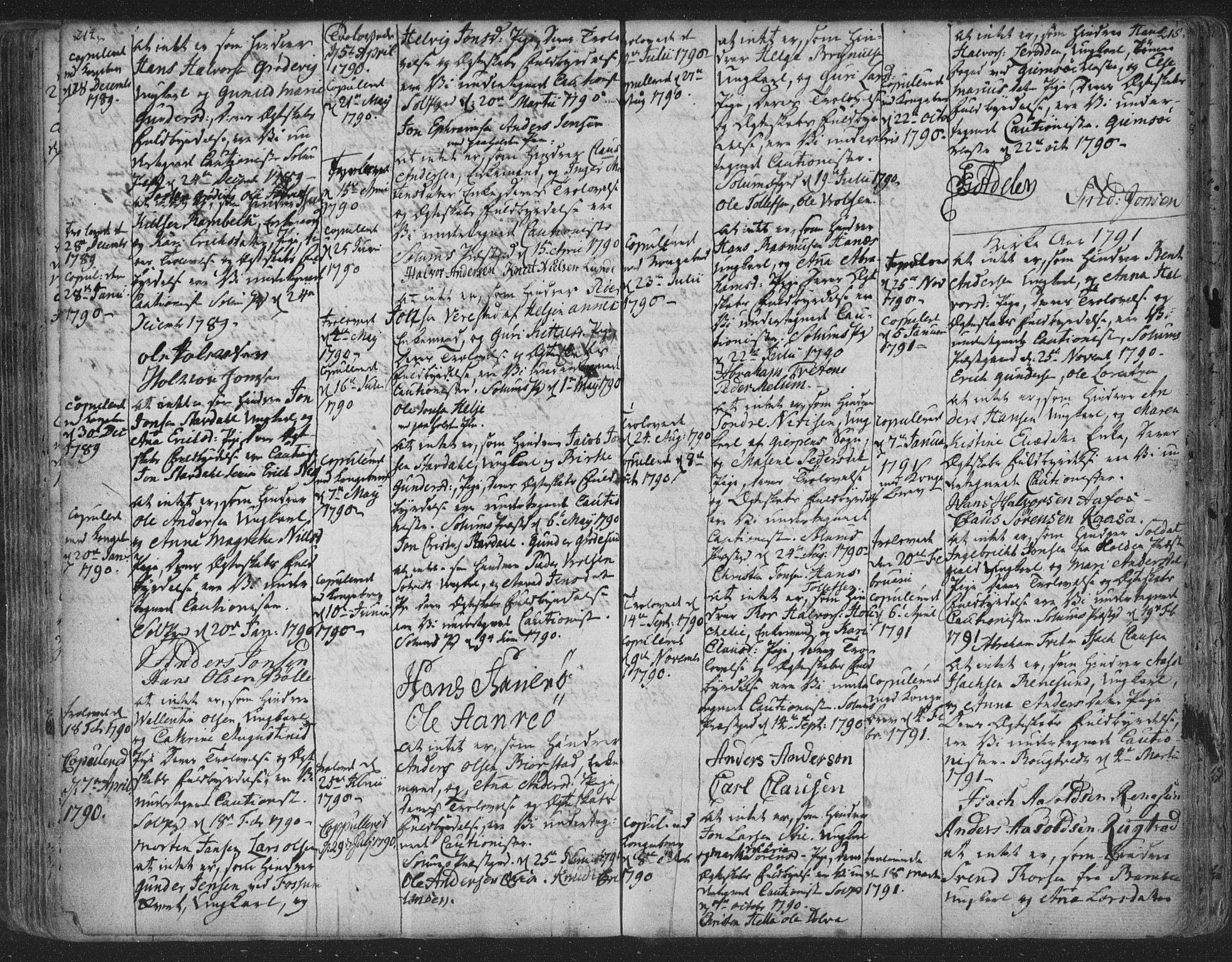 SAKO, Solum kirkebøker, F/Fa/L0003: Ministerialbok nr. I 3, 1761-1814, s. 214-215