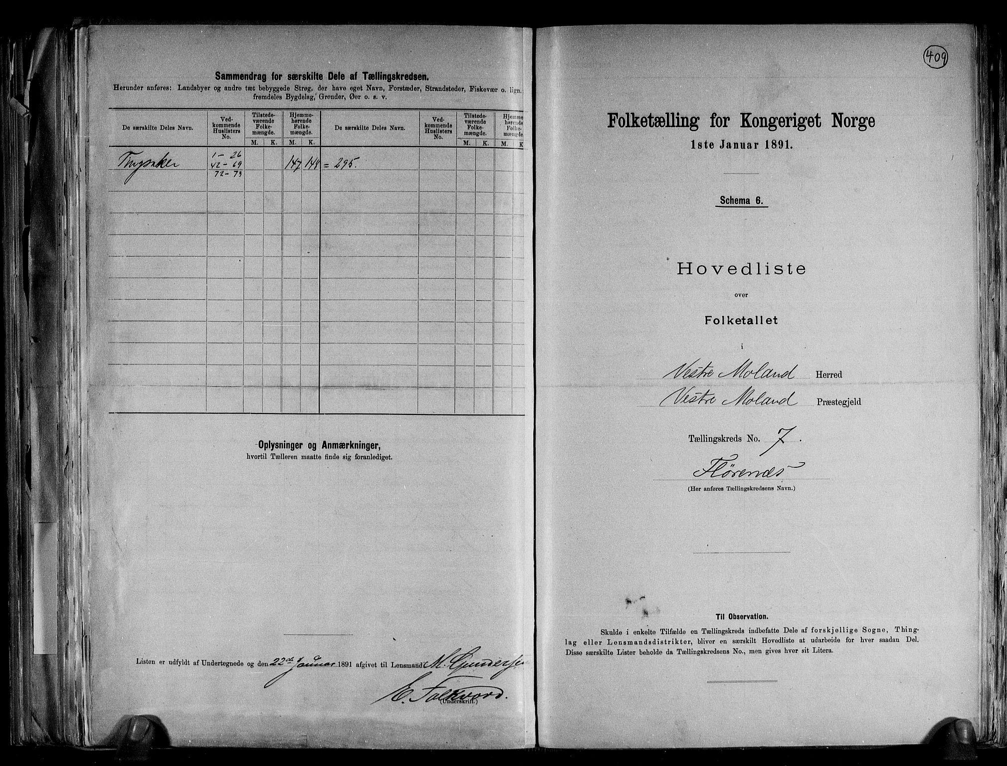 RA, Folketelling 1891 for 0926 Vestre Moland herred, 1891, s. 18