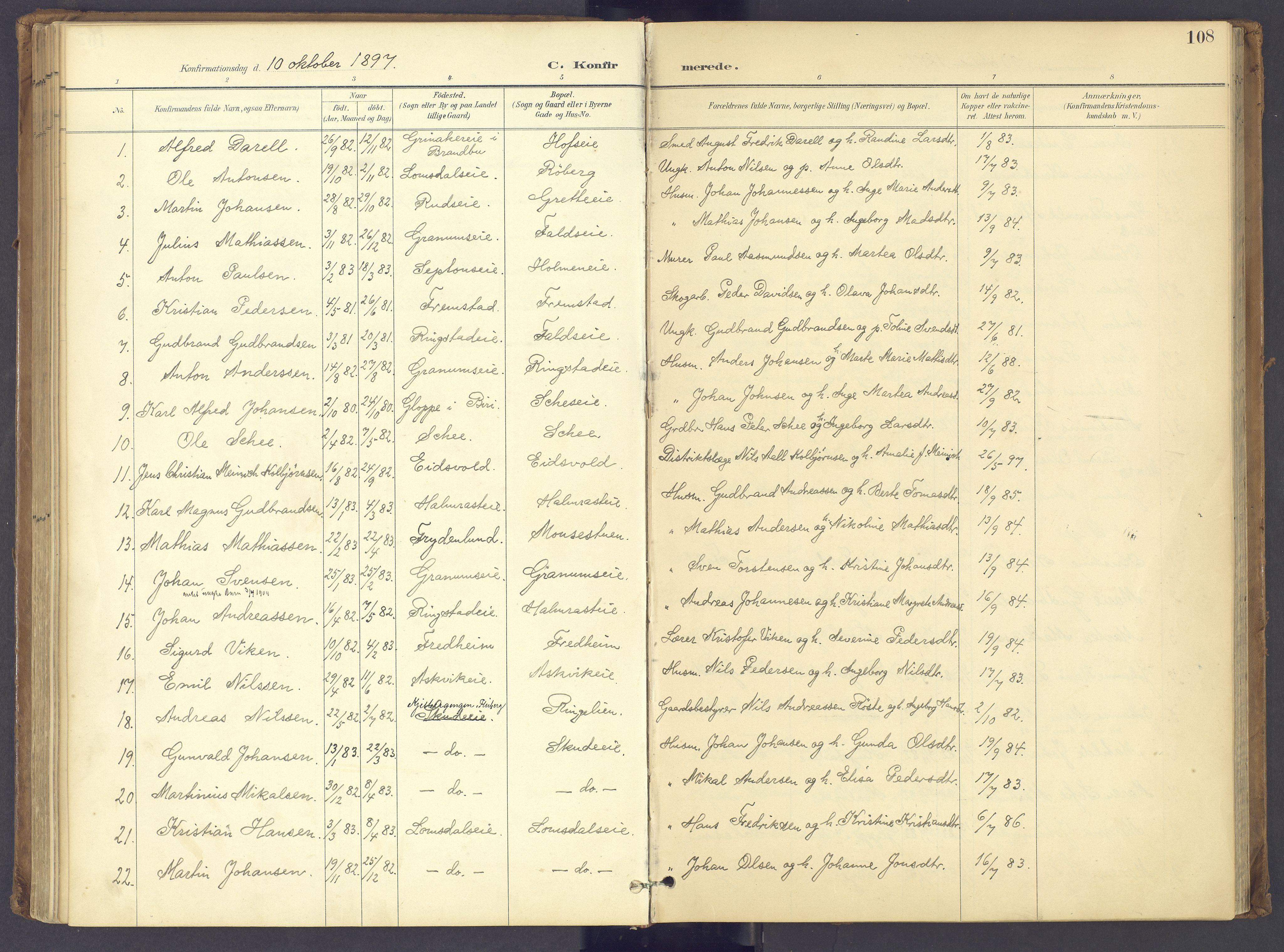SAH, Søndre Land prestekontor, K/L0006: Ministerialbok nr. 6, 1895-1904, s. 108