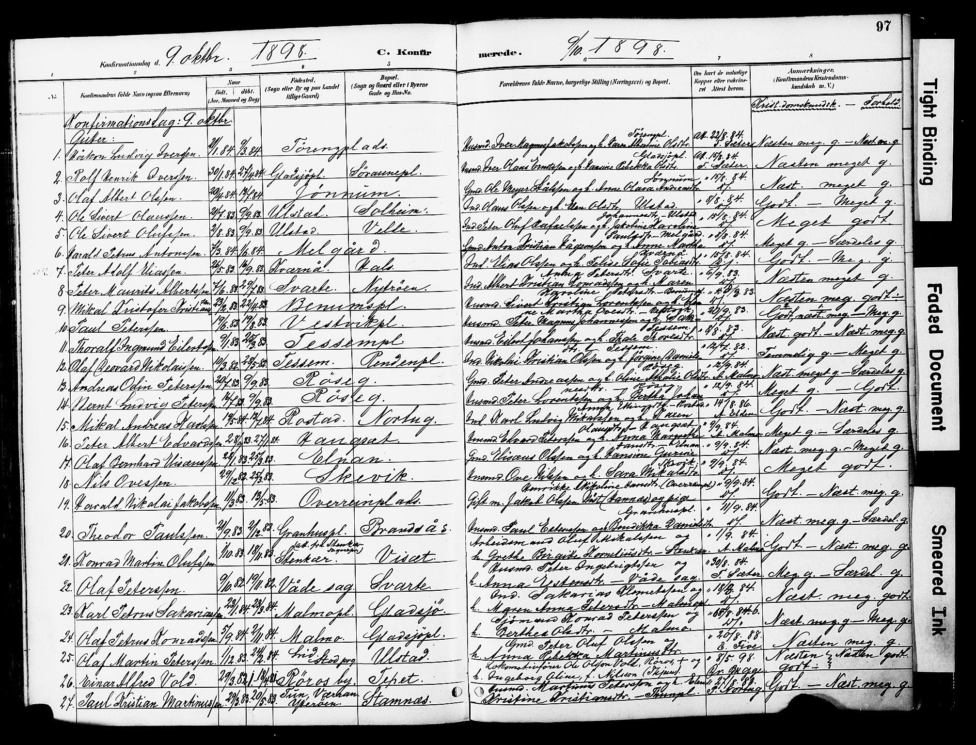 SAT, Ministerialprotokoller, klokkerbøker og fødselsregistre - Nord-Trøndelag, 741/L0396: Ministerialbok nr. 741A10, 1889-1901, s. 97