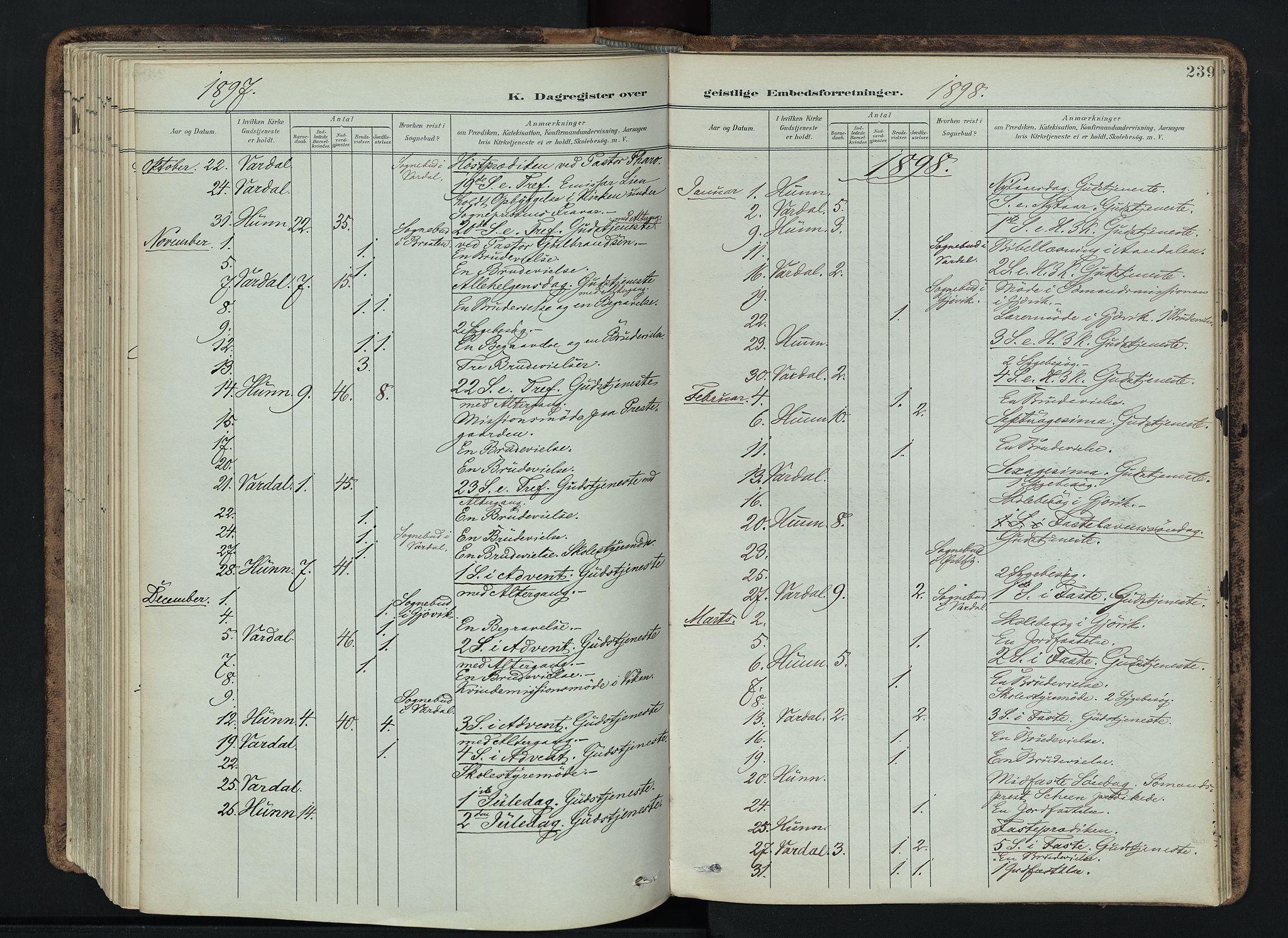 SAH, Vardal prestekontor, H/Ha/Haa/L0019: Ministerialbok nr. 19, 1893-1907, s. 239