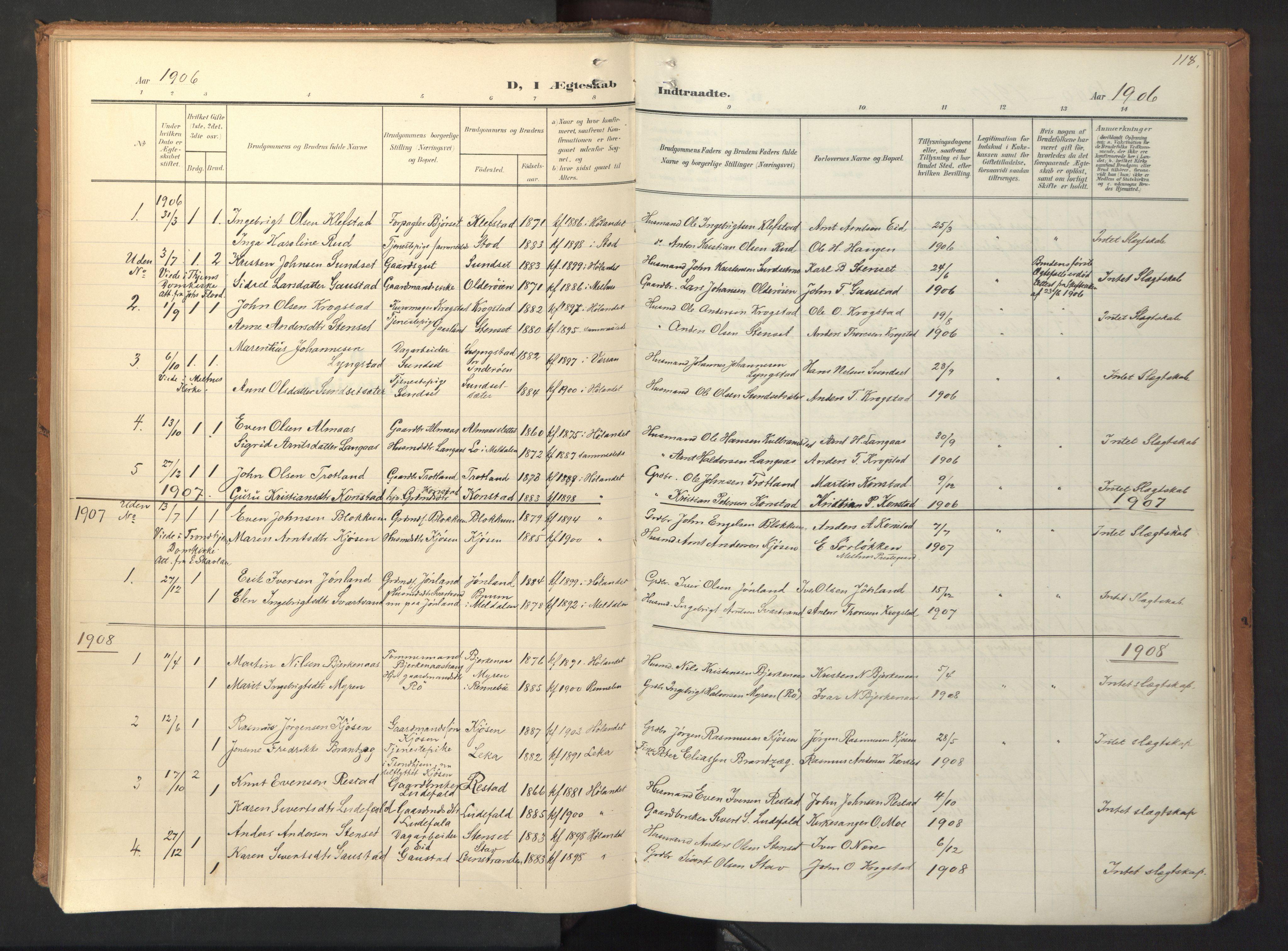 SAT, Ministerialprotokoller, klokkerbøker og fødselsregistre - Sør-Trøndelag, 694/L1128: Ministerialbok nr. 694A02, 1906-1931, s. 118