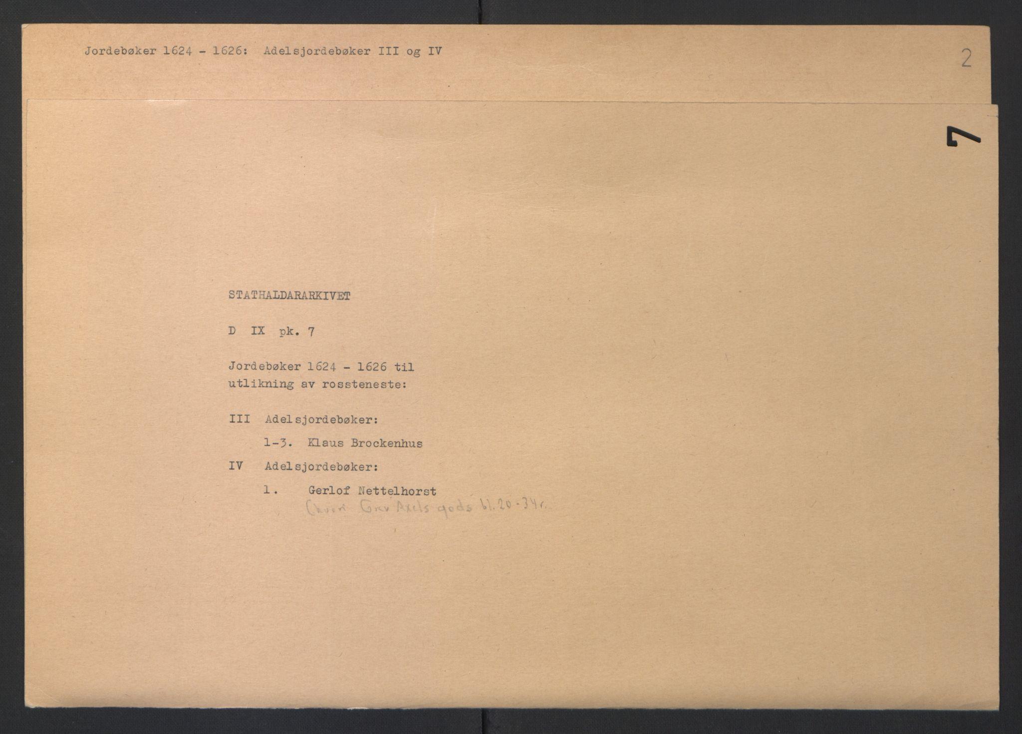 RA, Stattholderembetet 1572-1771, Ek/L0007: Jordebøker til utlikning av rosstjeneste 1624-1626:, 1624-1625, s. 85