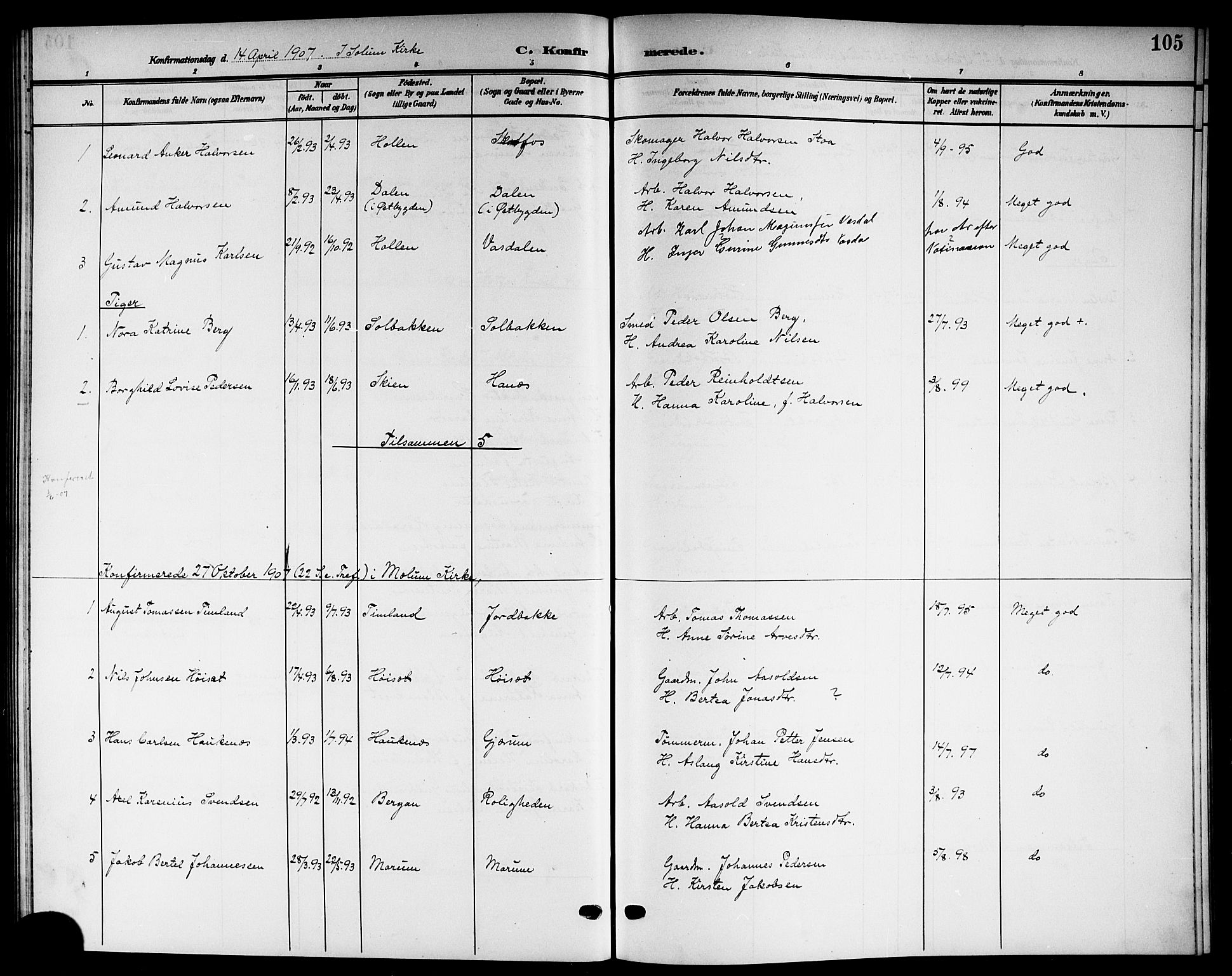SAKO, Solum kirkebøker, G/Gb/L0005: Klokkerbok nr. II 5, 1905-1914, s. 105