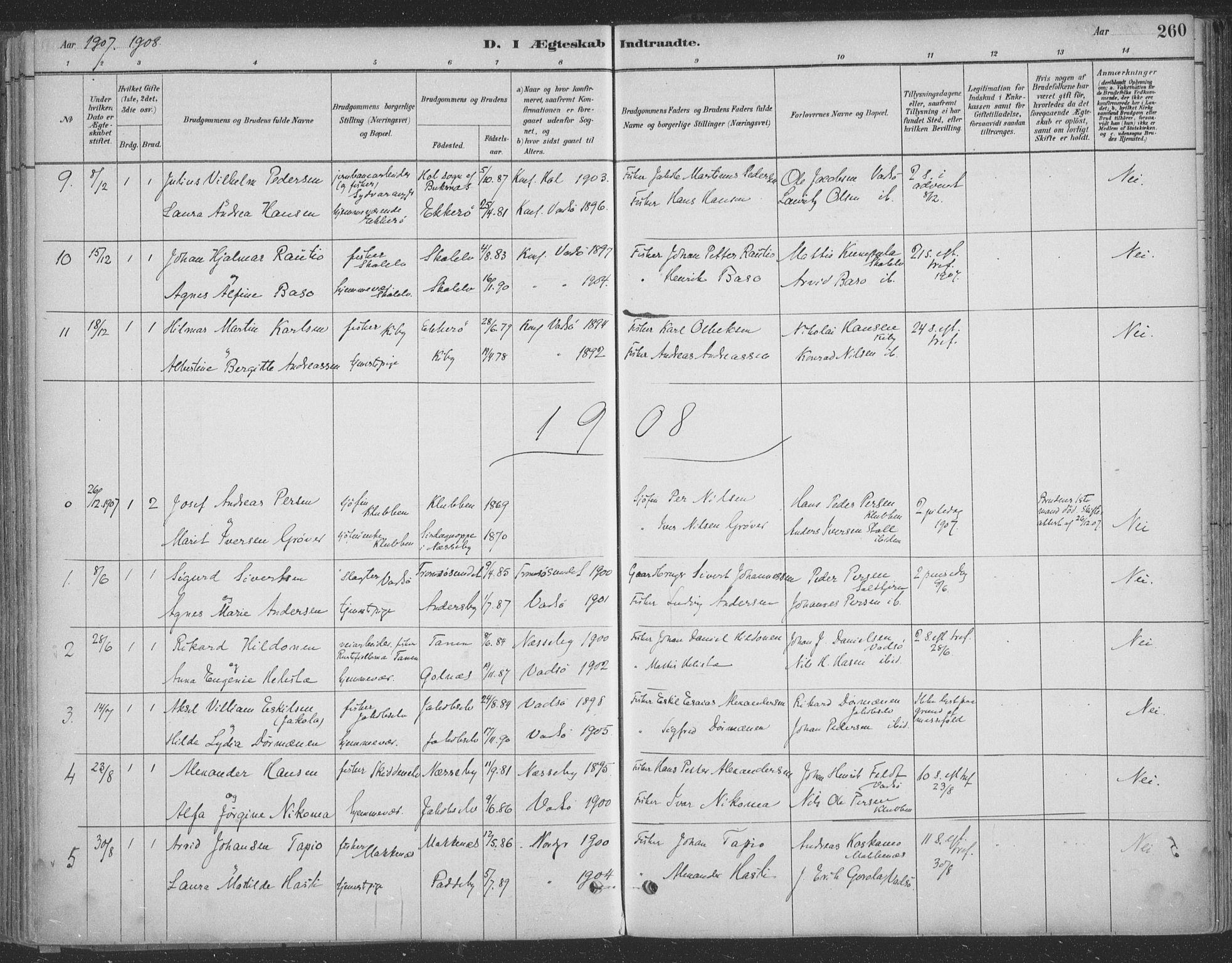 SATØ, Vadsø sokneprestkontor, H/Ha/L0009kirke: Ministerialbok nr. 9, 1881-1917, s. 260