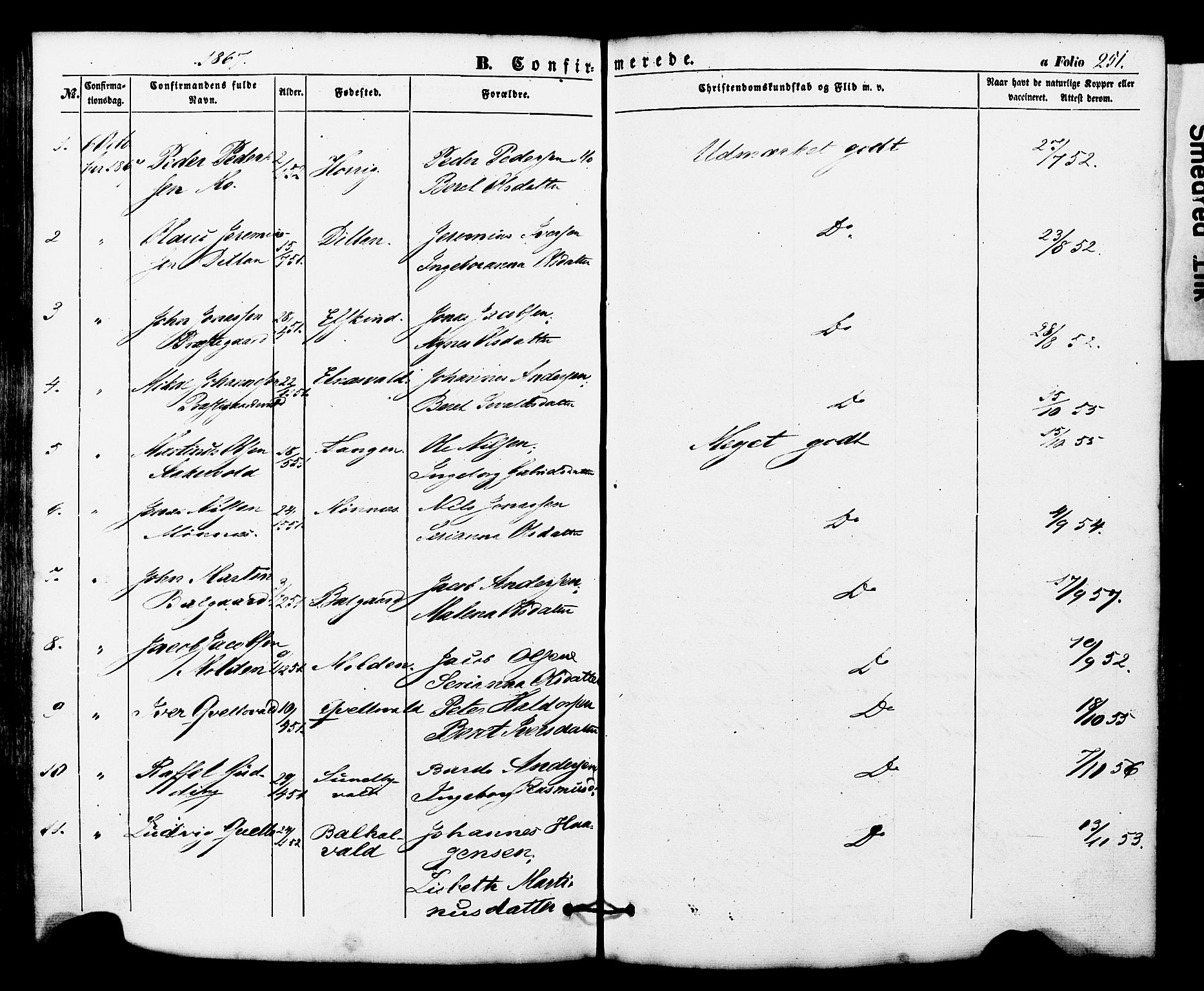 SAT, Ministerialprotokoller, klokkerbøker og fødselsregistre - Nord-Trøndelag, 724/L0268: Klokkerbok nr. 724C04, 1846-1878, s. 251