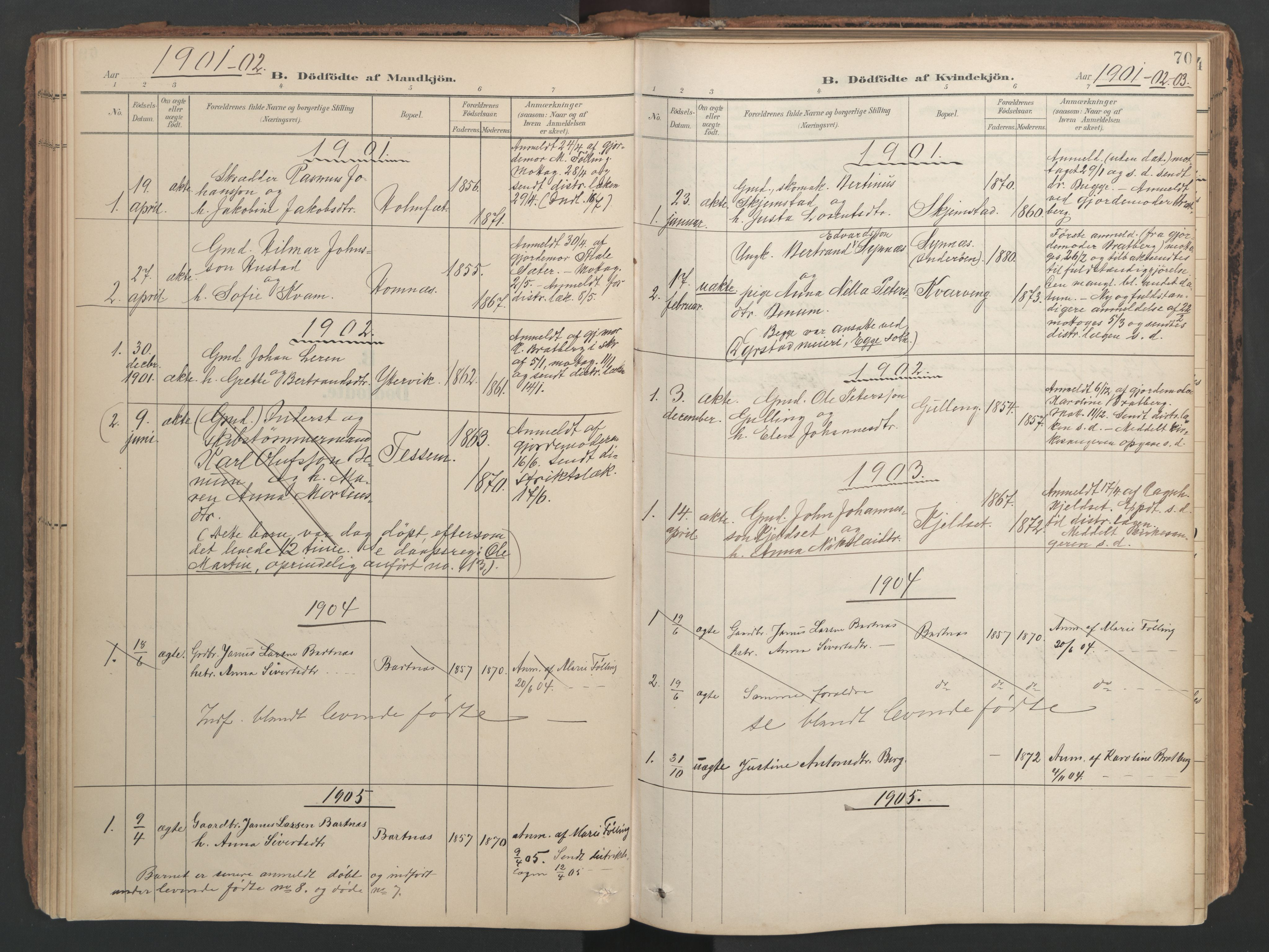 SAT, Ministerialprotokoller, klokkerbøker og fødselsregistre - Nord-Trøndelag, 741/L0397: Ministerialbok nr. 741A11, 1901-1911, s. 70