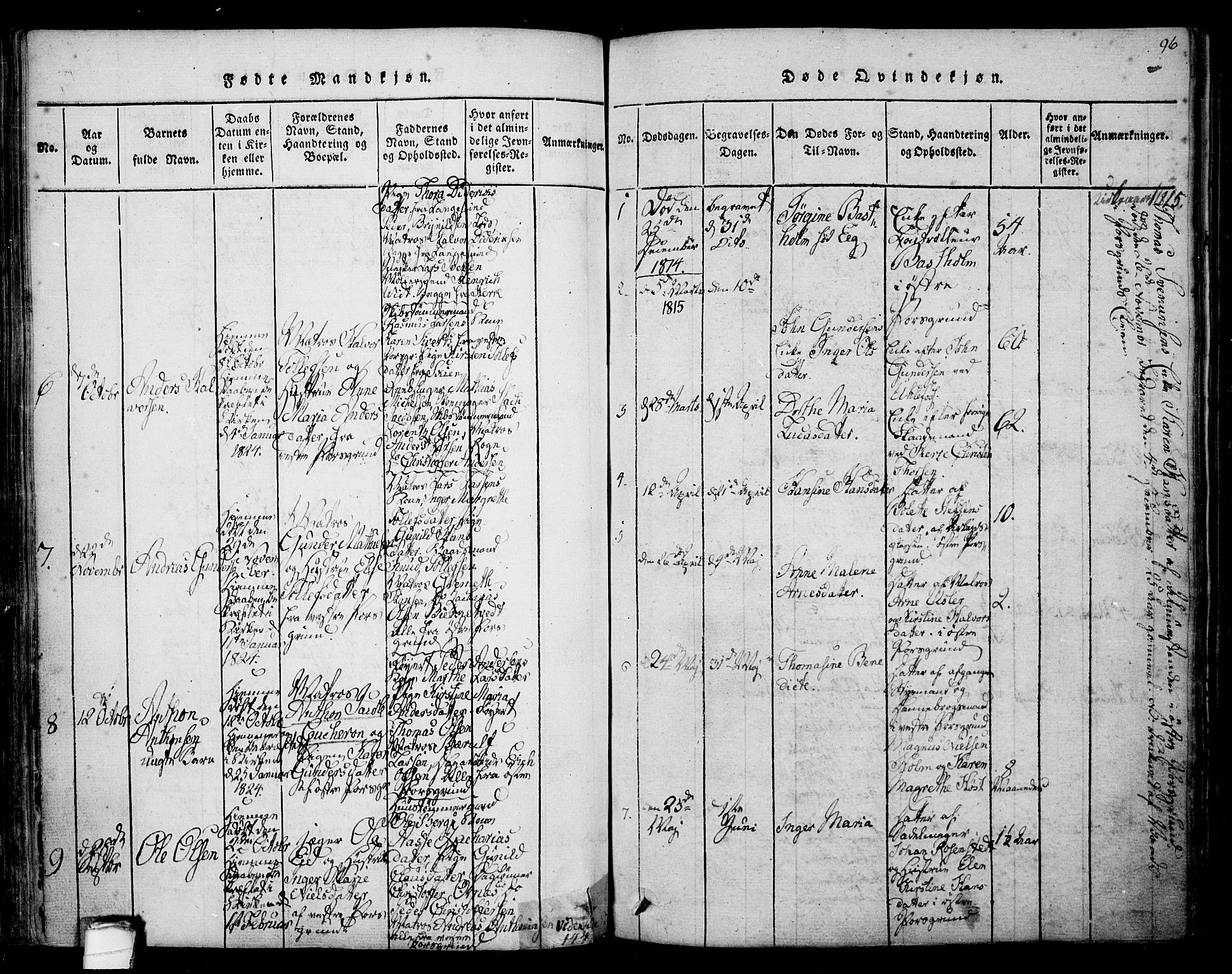 SAKO, Porsgrunn kirkebøker , F/Fa/L0004: Ministerialbok nr. 4, 1814-1828, s. 96