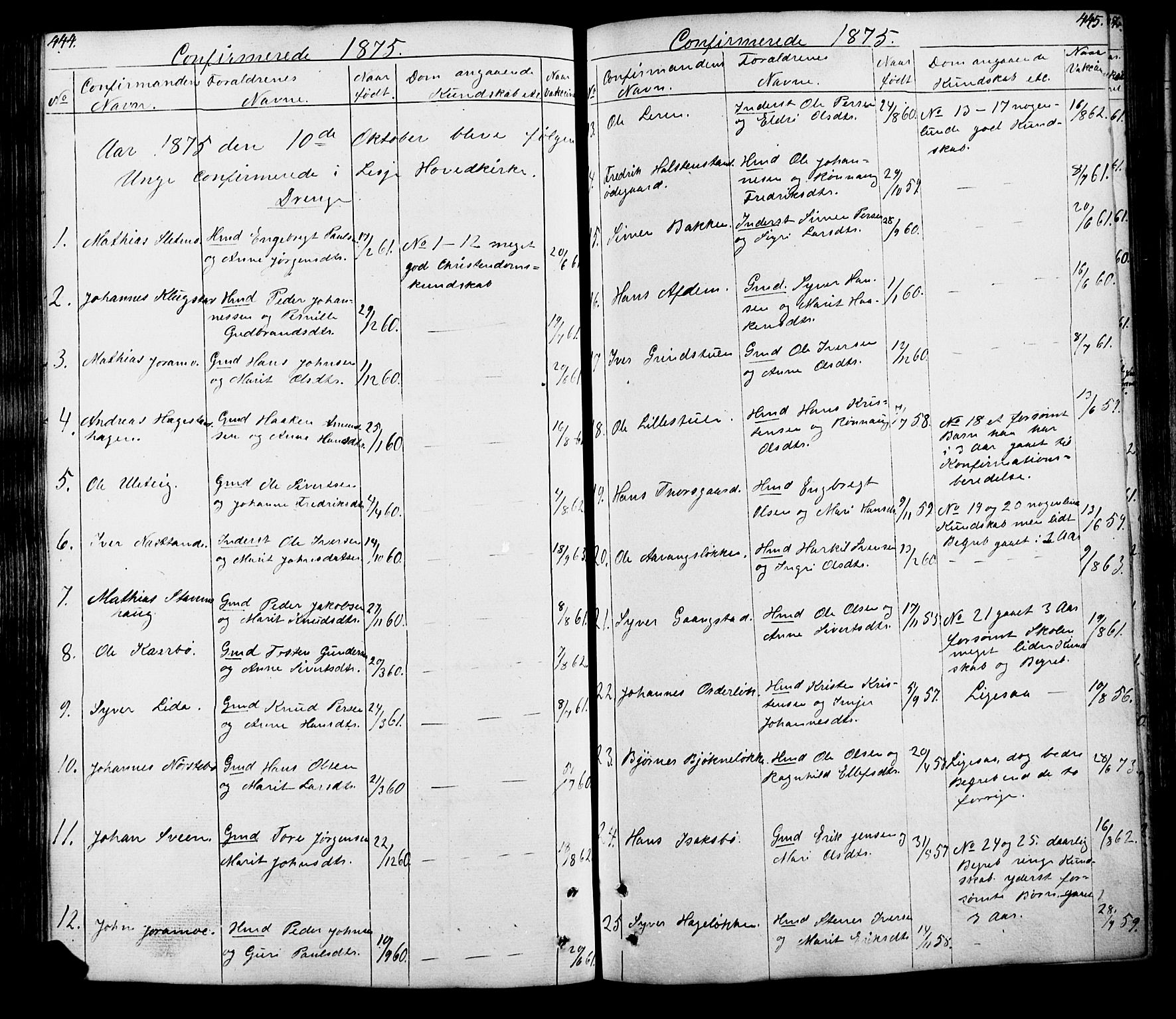 SAH, Lesja prestekontor, Klokkerbok nr. 5, 1850-1894, s. 444-445