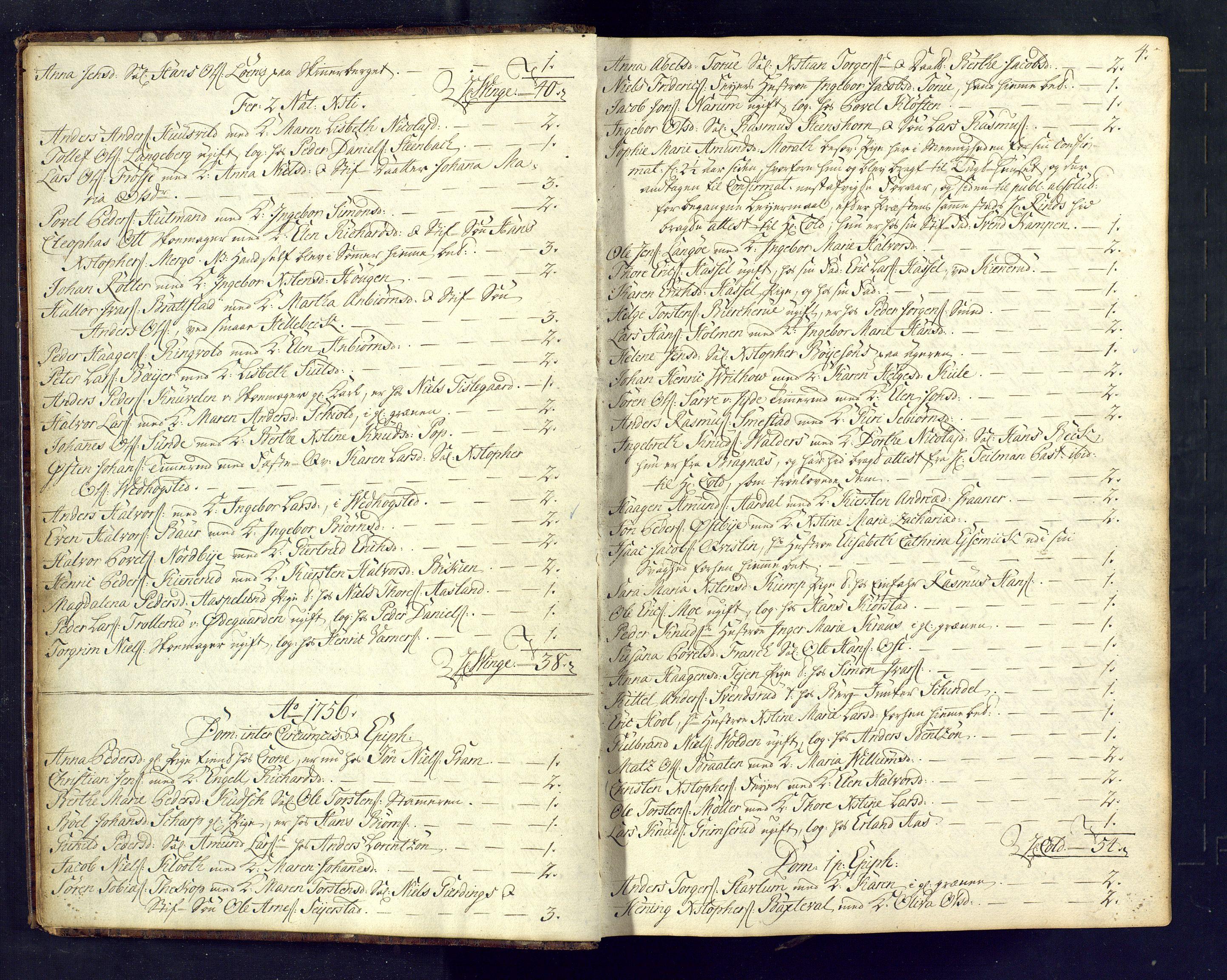 SAKO, Kongsberg kirkebøker, M/Ma/L0005: Kommunikantprotokoll nr. 5, 1755-1761, s. 4