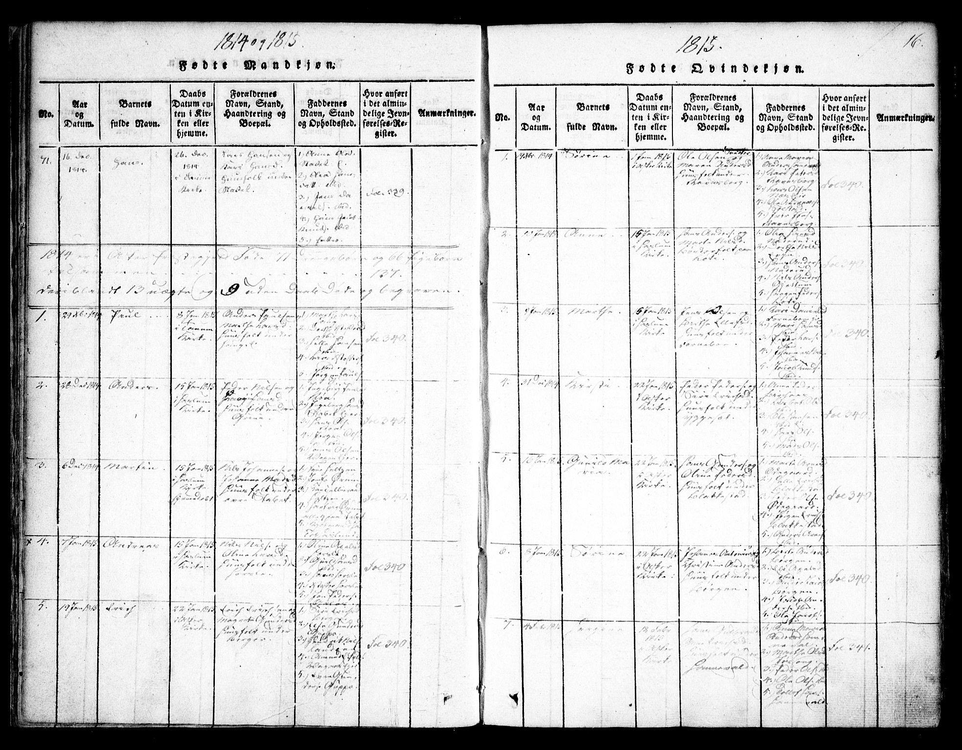 SAO, Asker prestekontor Kirkebøker, F/Fa/L0006: Ministerialbok nr. I 6, 1814-1824, s. 16