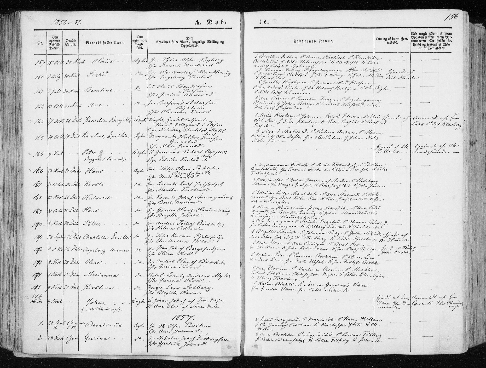 SAT, Ministerialprotokoller, klokkerbøker og fødselsregistre - Nord-Trøndelag, 709/L0074: Ministerialbok nr. 709A14, 1845-1858, s. 156
