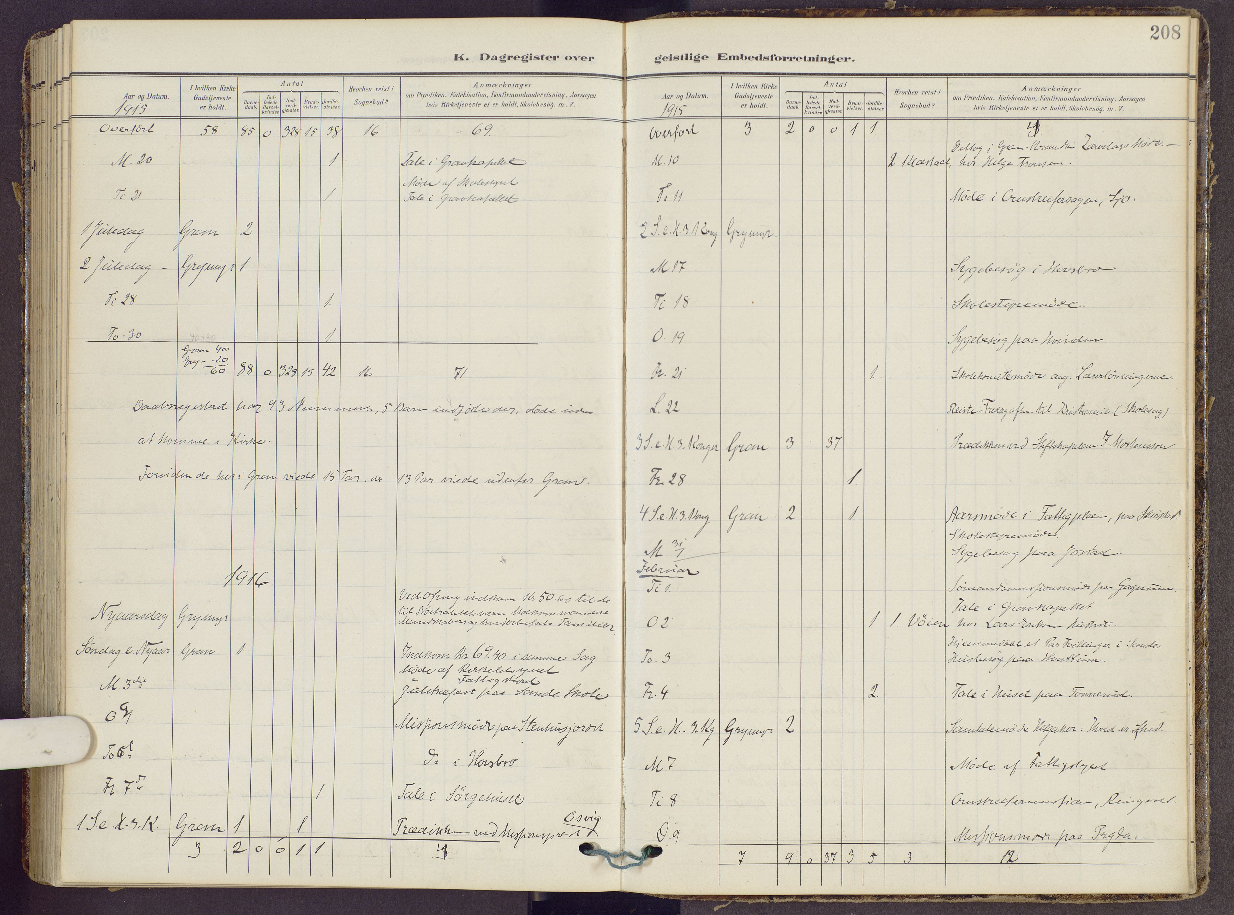SAH, Gran prestekontor, Ministerialbok nr. 22, 1908-1918, s. 208