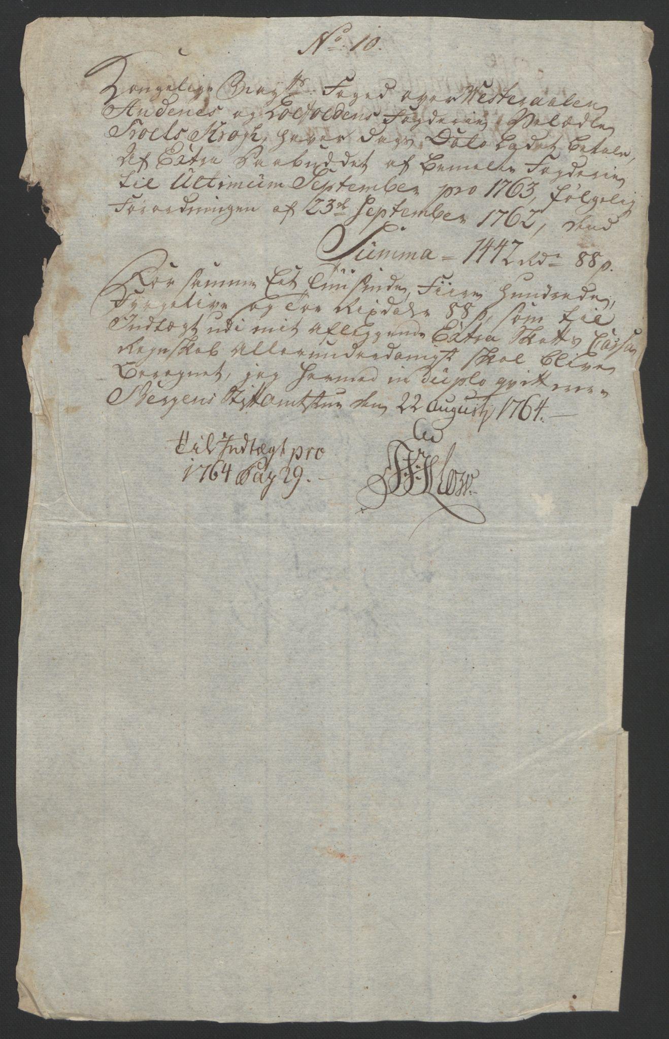 RA, Rentekammeret inntil 1814, Reviderte regnskaper, Fogderegnskap, R67/L4747: Ekstraskatten Vesterålen, Andenes og Lofoten, 1762-1766, s. 327