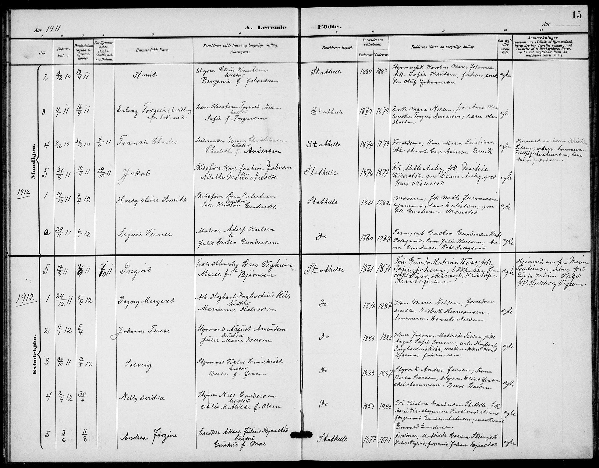 SAKO, Bamble kirkebøker, G/Gb/L0002: Klokkerbok nr. II 2, 1900-1925, s. 15