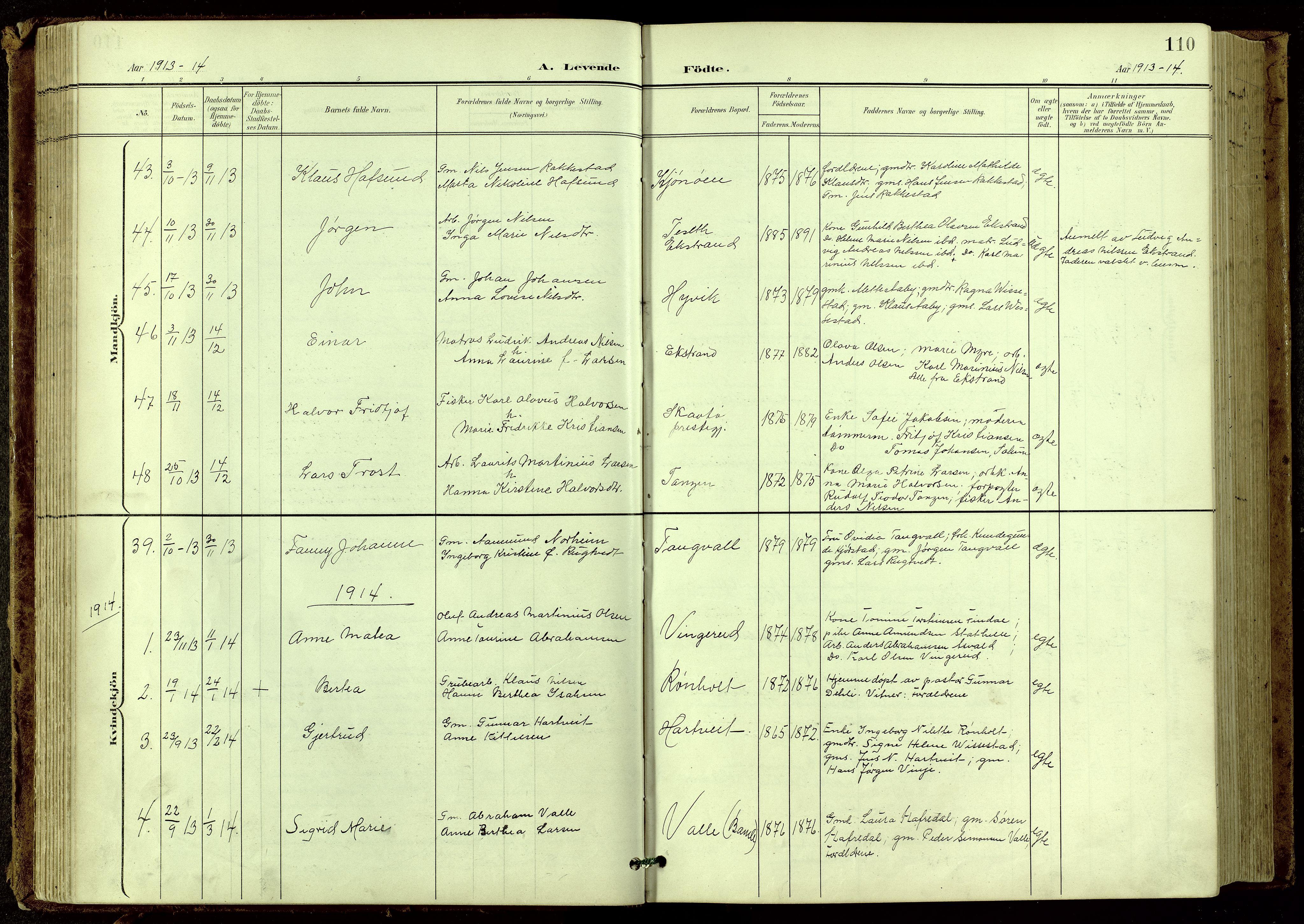 SAKO, Bamble kirkebøker, G/Ga/L0010: Klokkerbok nr. I 10, 1901-1919, s. 110