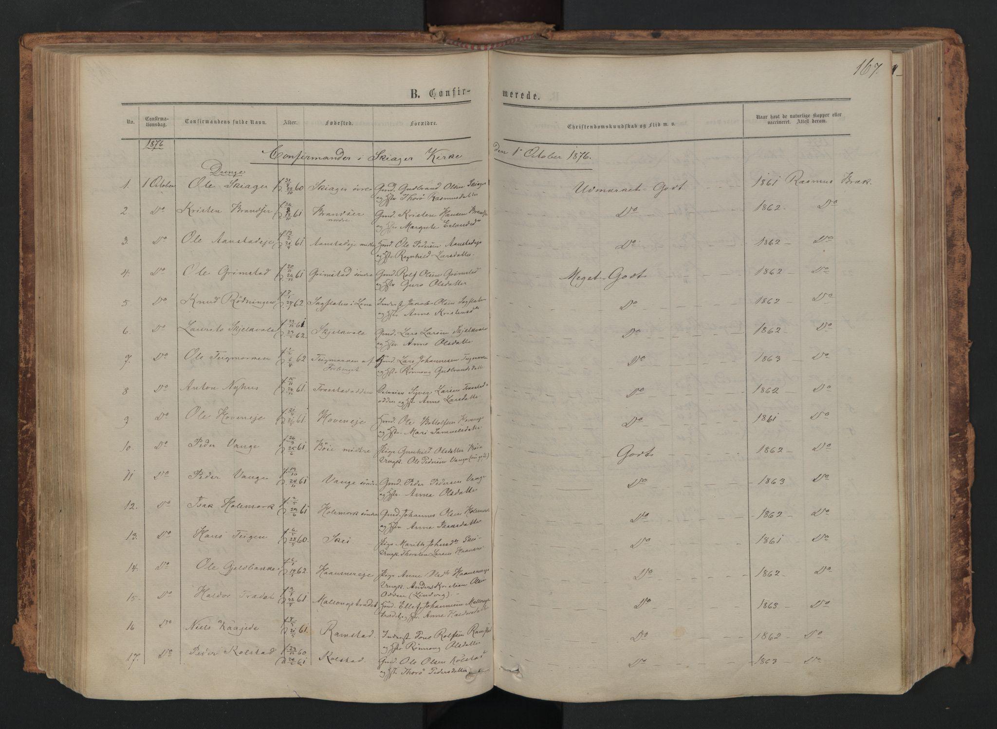 SAH, Skjåk prestekontor, Ministerialbok nr. 1, 1863-1879, s. 167