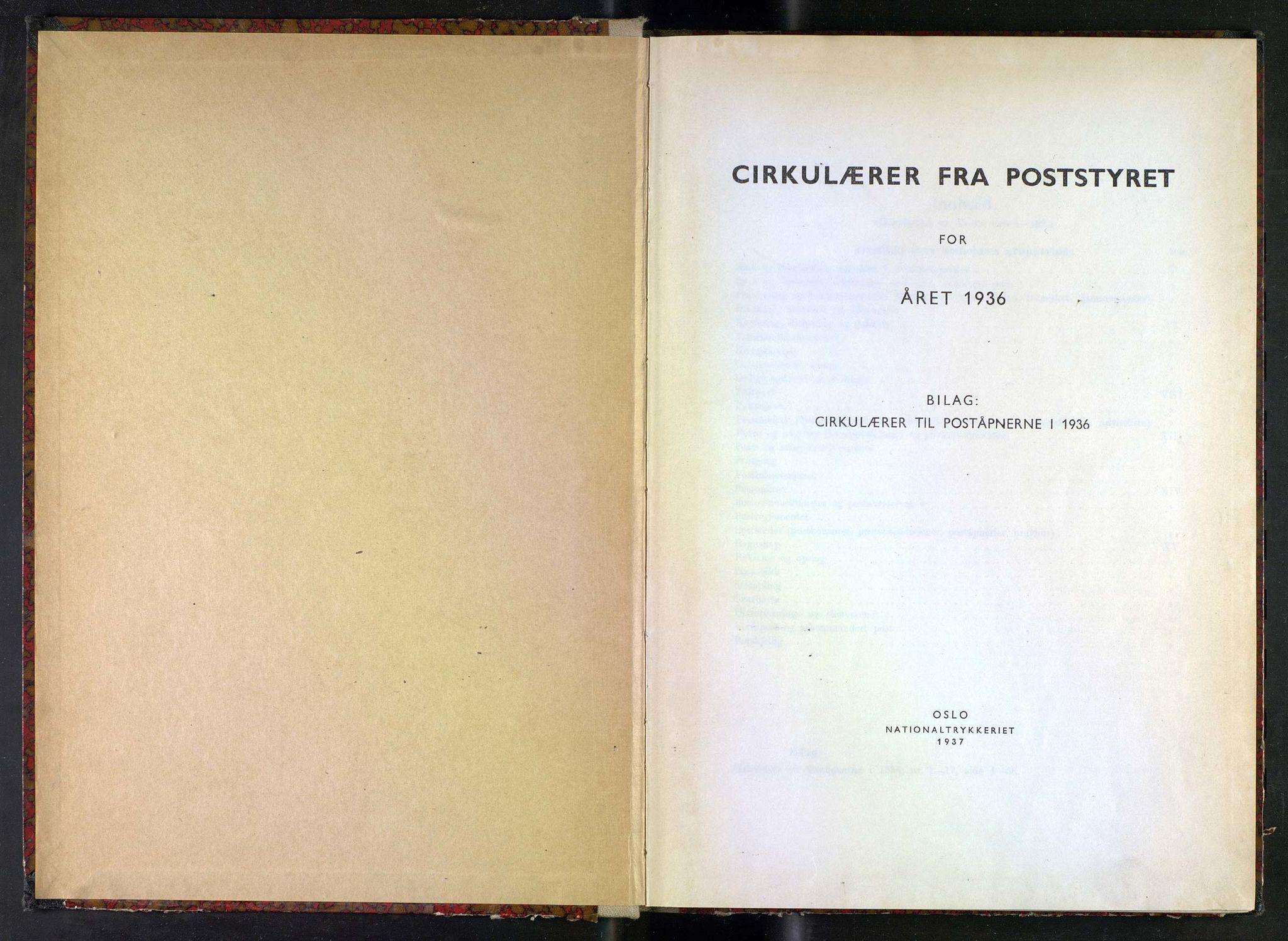 NOPO, Norges Postmuseums bibliotek, -/-: Sirkulærer fra Poststyret, 1936