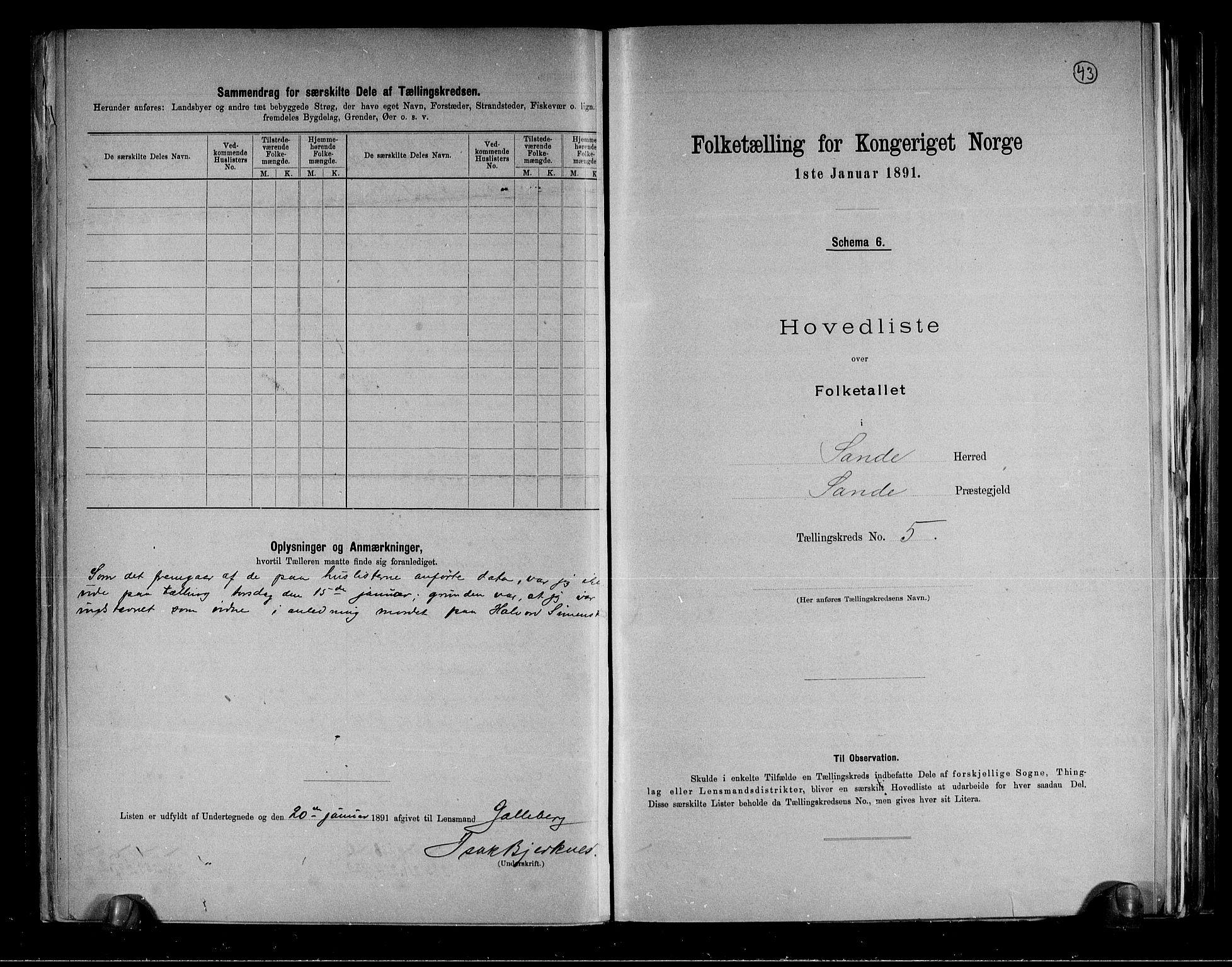 RA, Folketelling 1891 for 0713 Sande herred, 1891, s. 12