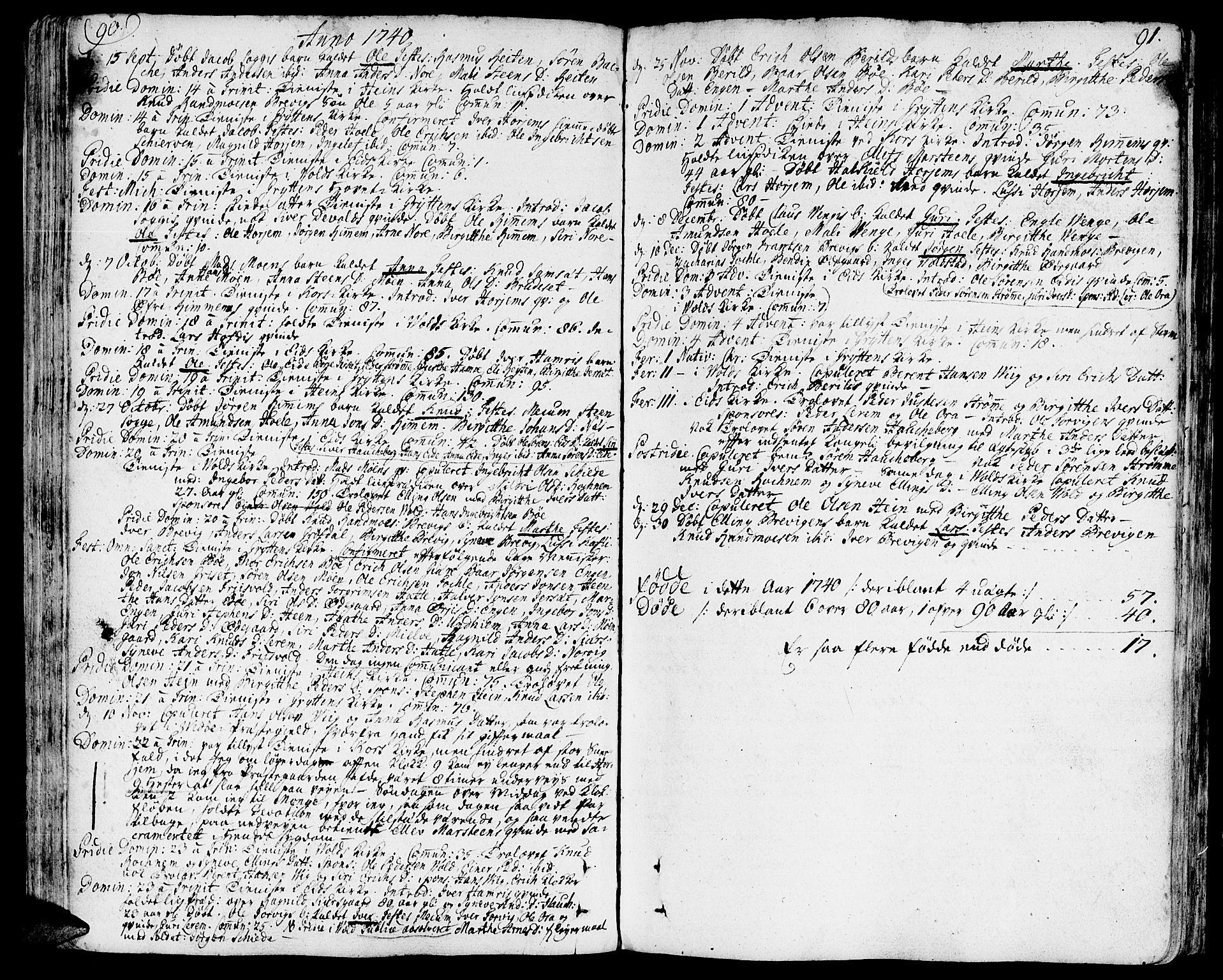 SAT, Ministerialprotokoller, klokkerbøker og fødselsregistre - Møre og Romsdal, 544/L0568: Ministerialbok nr. 544A01, 1725-1763, s. 90-91
