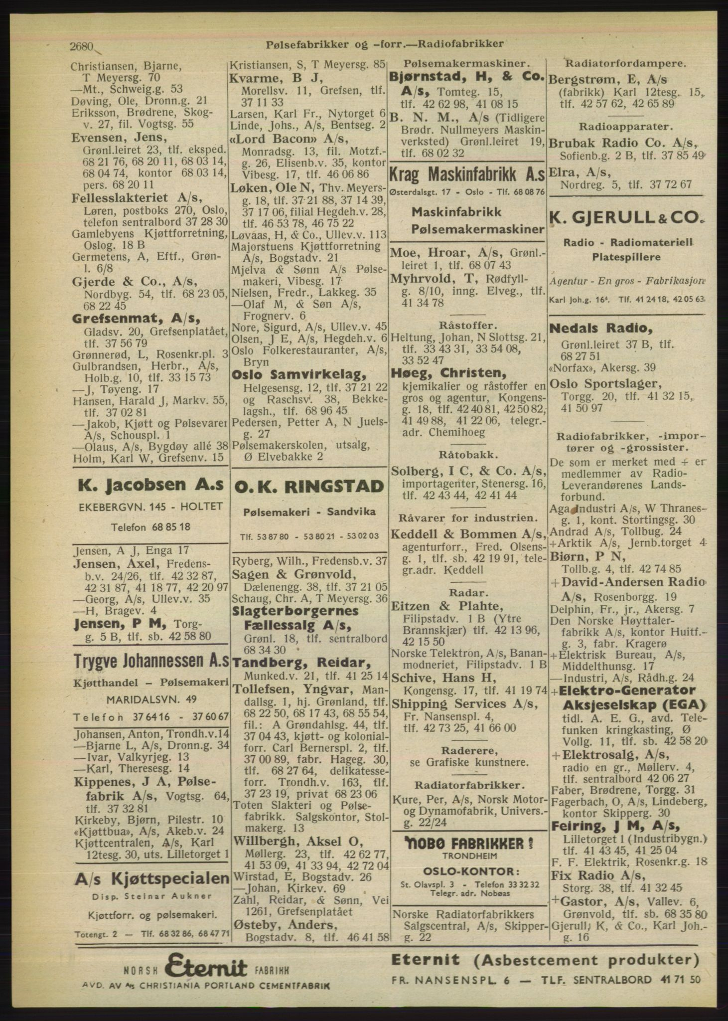 RA, Oslo adressebok (publikasjon)*, 1949, s. 2680