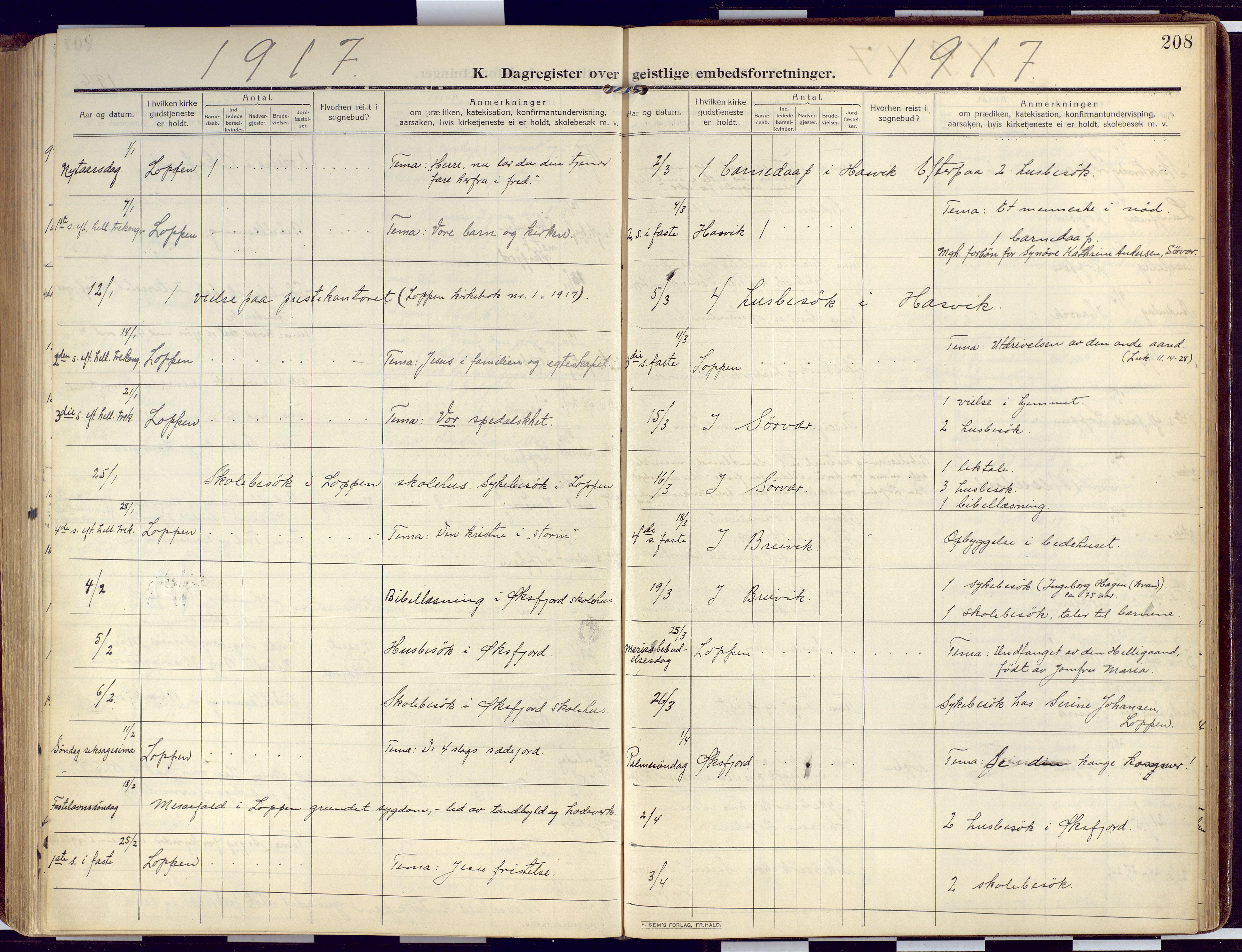 SATØ, Loppa sokneprestkontor, H/Ha/L0011kirke: Ministerialbok nr. 11, 1909-1919, s. 208