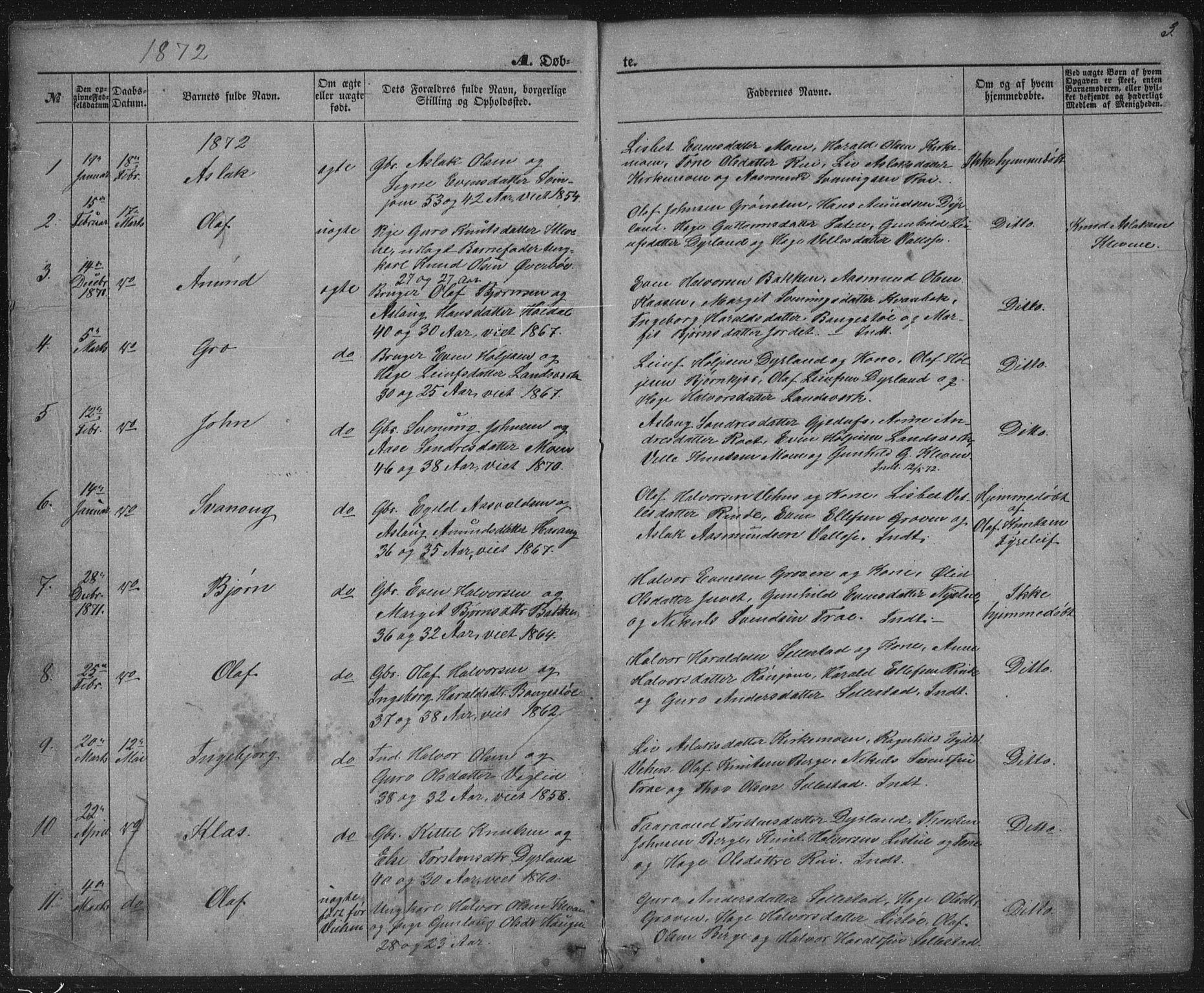SAKO, Seljord kirkebøker, G/Gc/L0002: Klokkerbok nr. III 2, 1872-1886, s. 3
