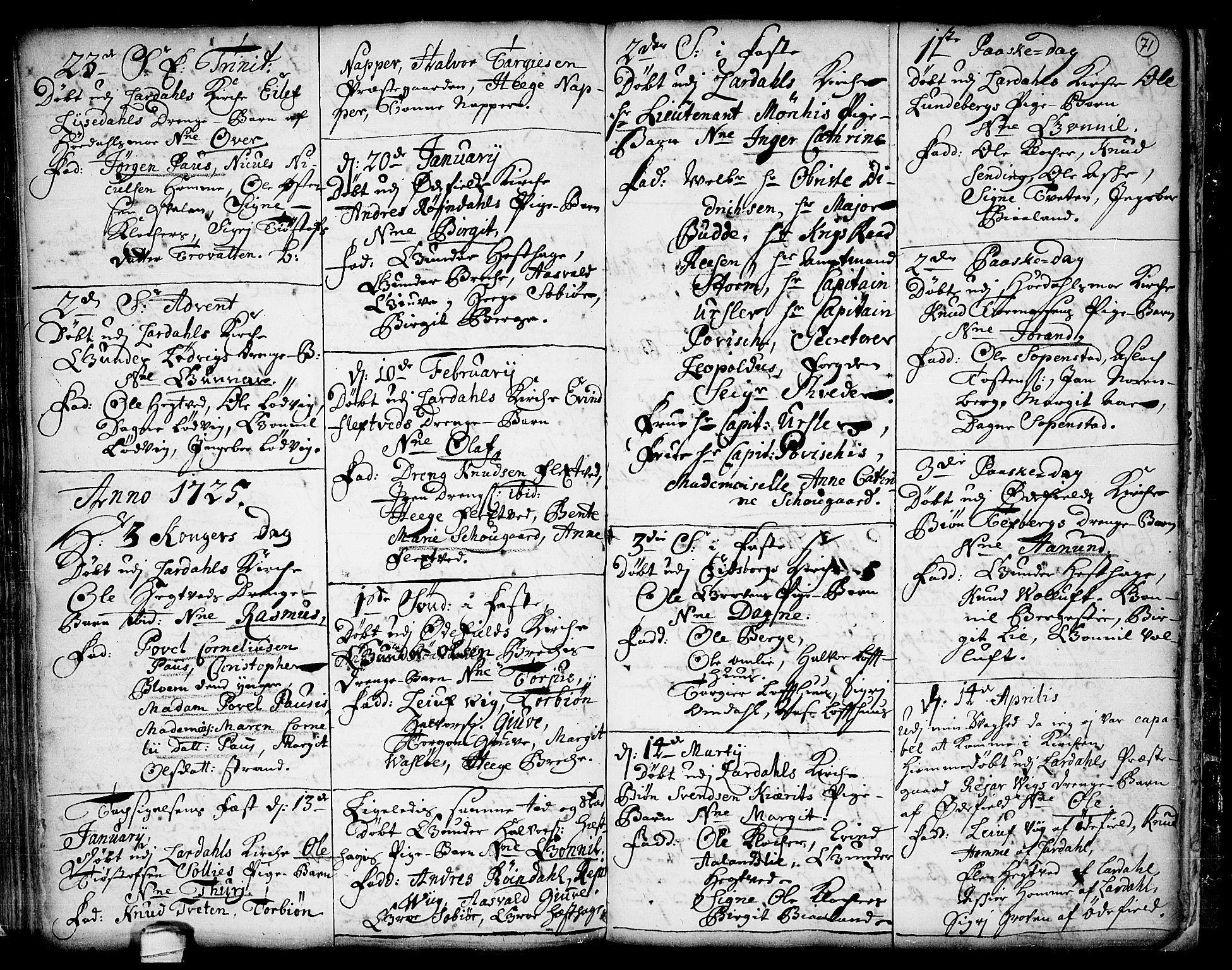 SAKO, Lårdal kirkebøker, F/Fa/L0001: Ministerialbok nr. I 1, 1721-1734, s. 71