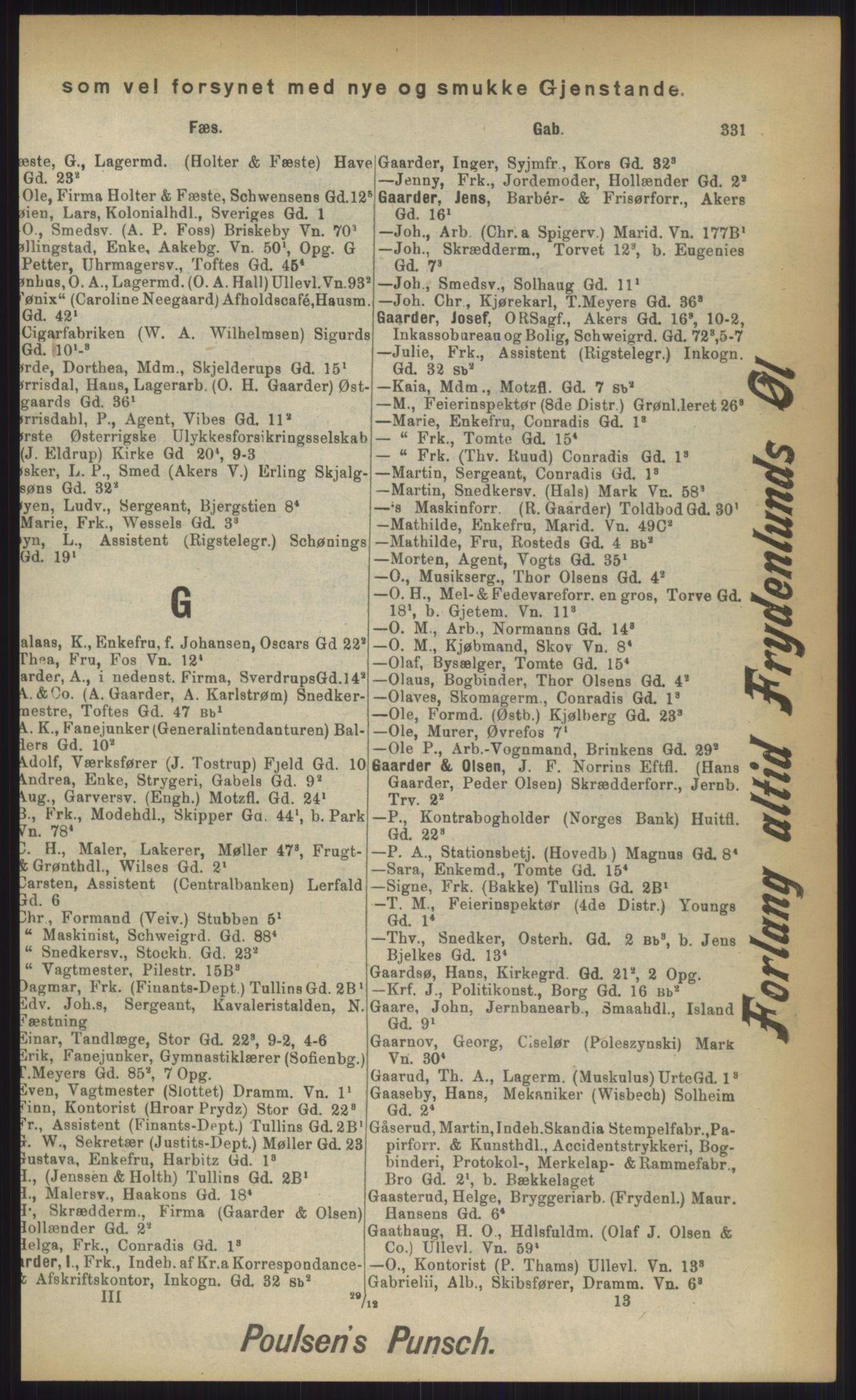 RA, Kristiania adressebok (publikasjon)*, 1903, s. 331