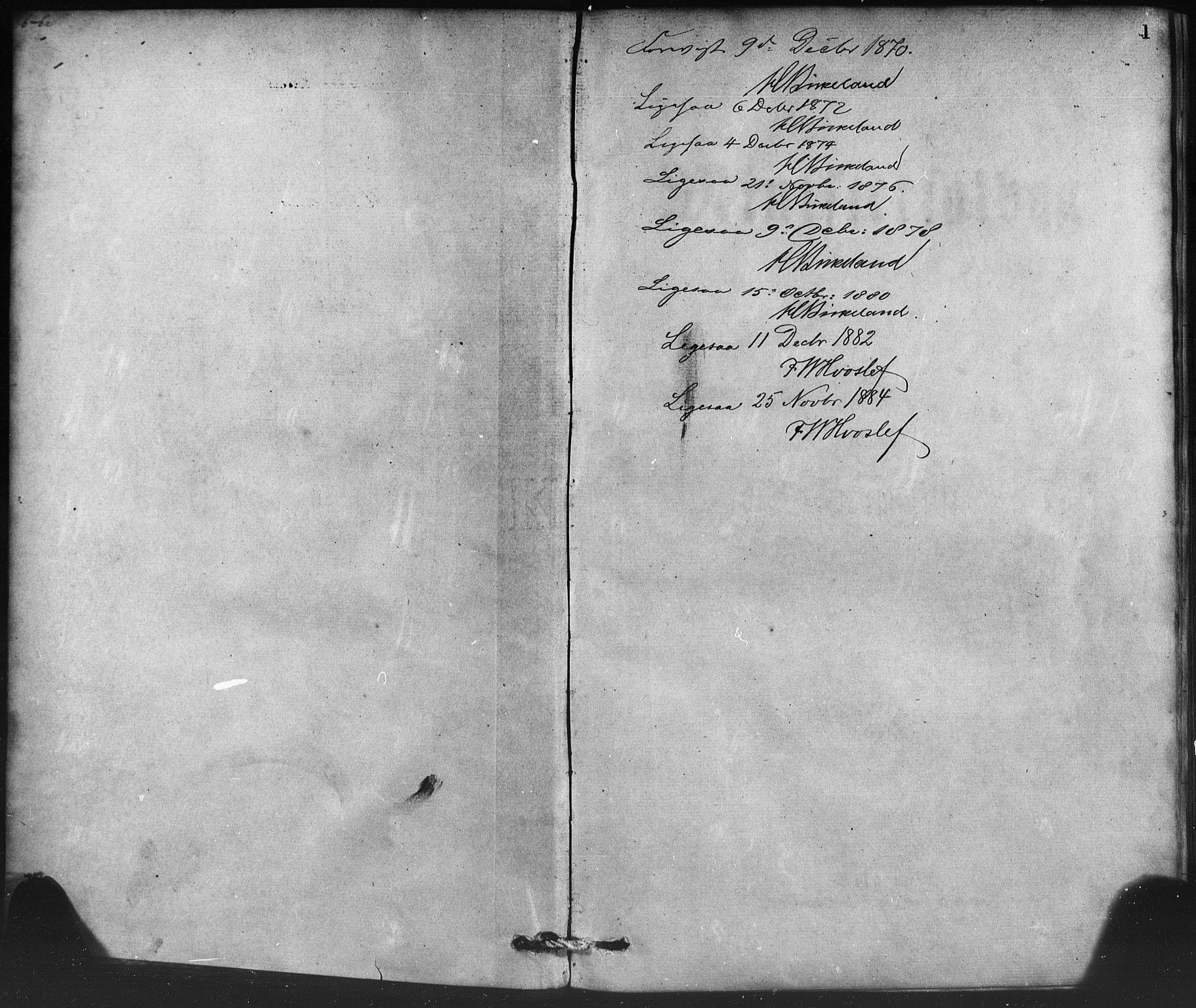 SAB, Nykirken Sokneprestembete, H/Haa: Ministerialbok nr. B 3, 1870-1884, s. 1