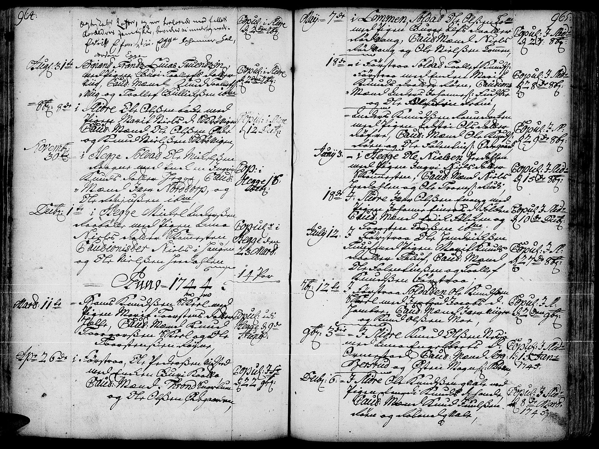 SAH, Slidre prestekontor, Ministerialbok nr. 1, 1724-1814, s. 964-965