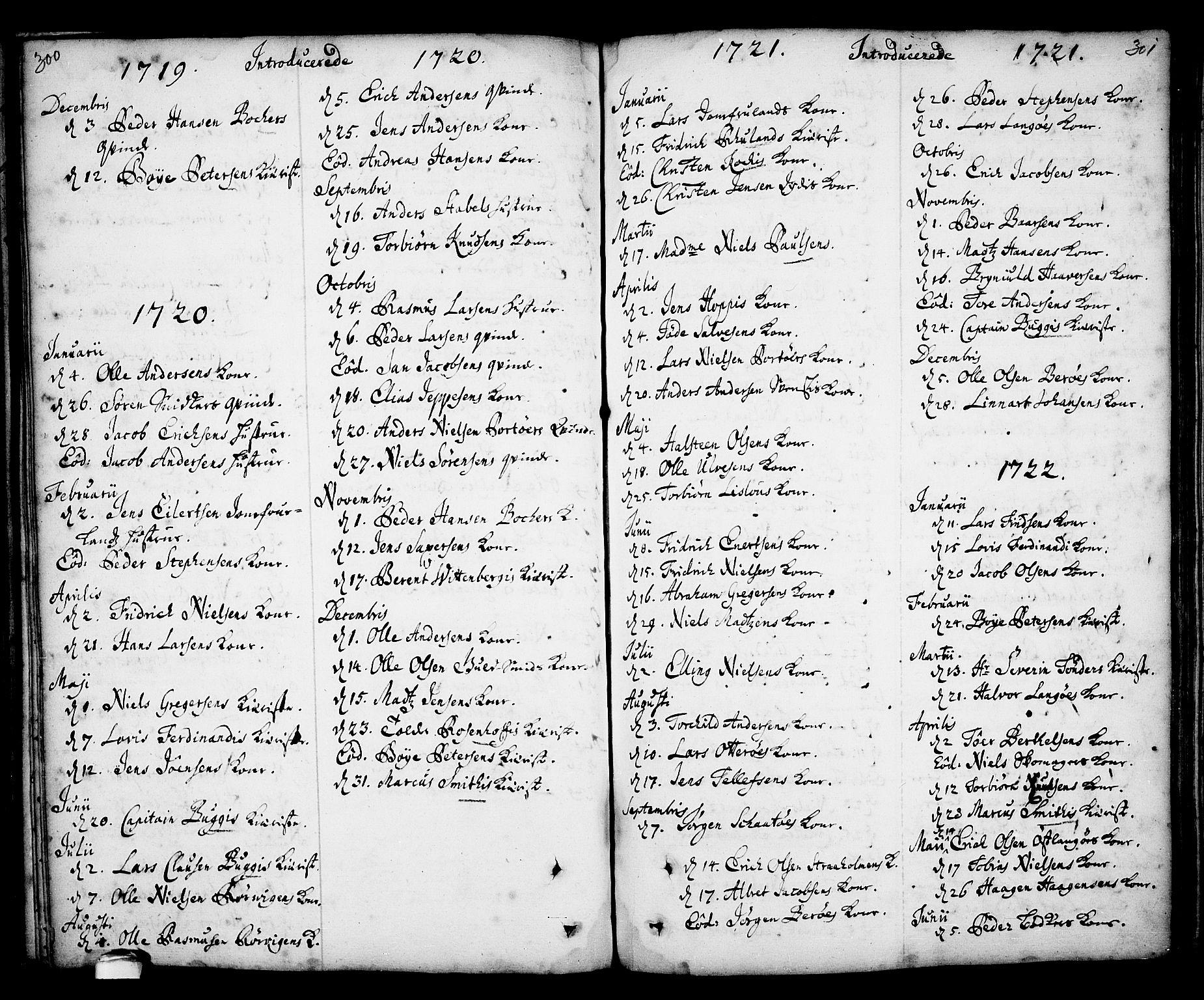SAKO, Kragerø kirkebøker, F/Fa/L0001: Ministerialbok nr. 1, 1702-1766, s. 300-301