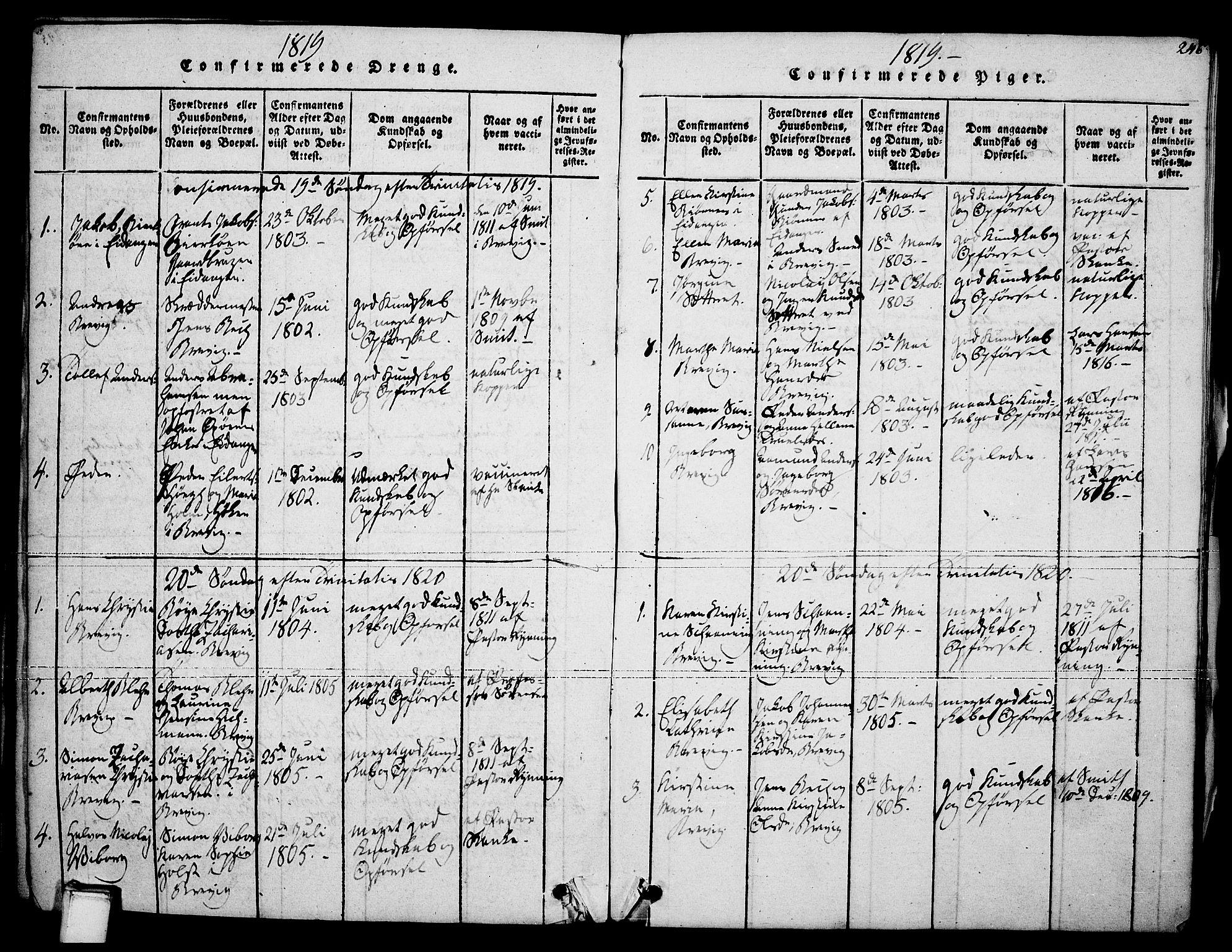 SAKO, Brevik kirkebøker, F/Fa/L0004: Ministerialbok nr. 4, 1814-1846, s. 246