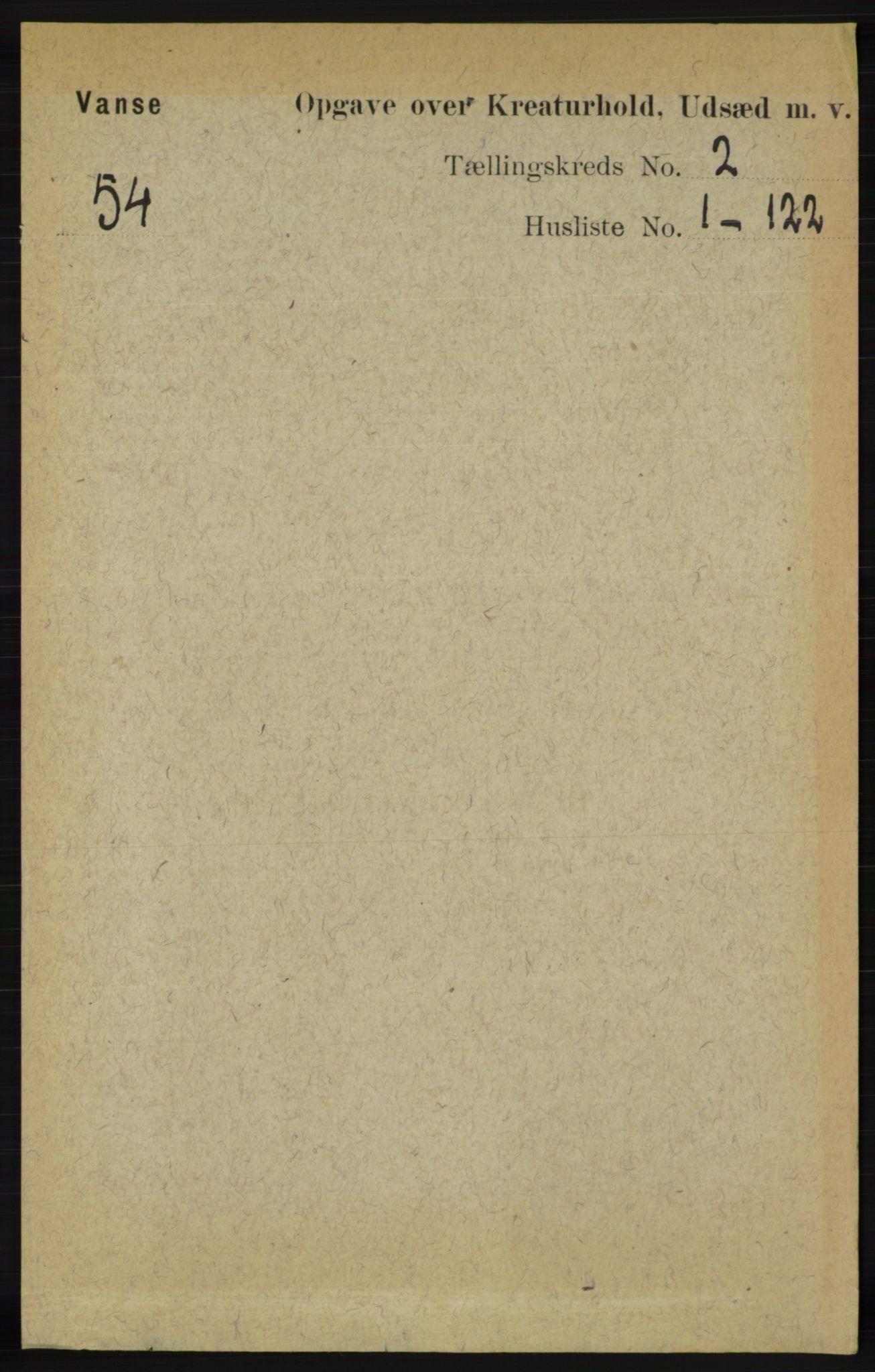 RA, Folketelling 1891 for 1041 Vanse herred, 1891, s. 7960