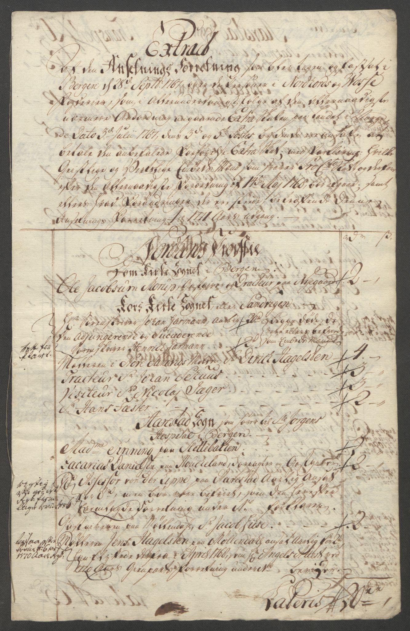 RA, Rentekammeret inntil 1814, Reviderte regnskaper, Fogderegnskap, R51/L3303: Ekstraskatten Nordhordland og Voss, 1762-1772, s. 601
